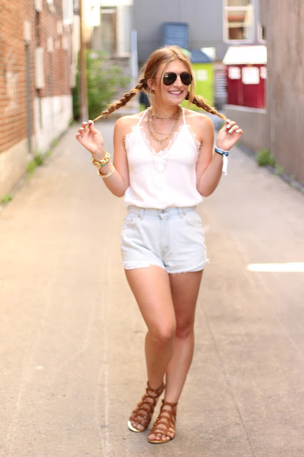 bohemian look and pigtails