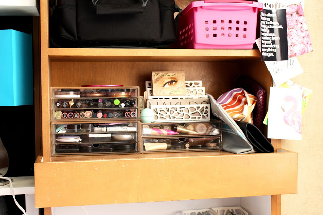 makeup storage - Texas Tech Dorm Rooms Tour by popular Texas lifestyle blogger Audrey Madison Stowe