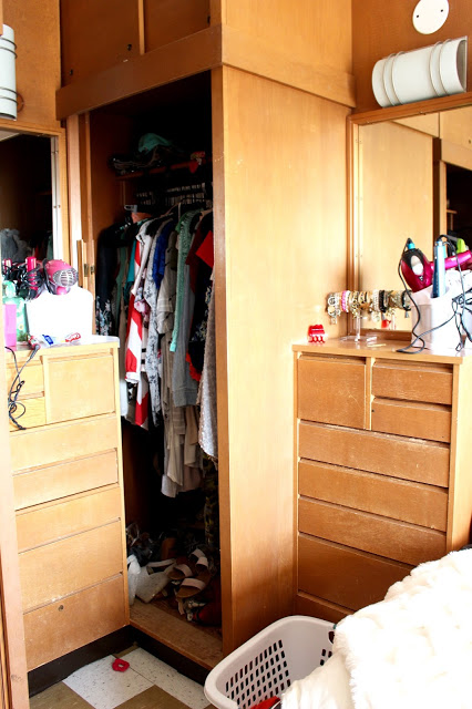 dorm closet and vanity - Texas Tech Dorm Rooms Tour by popular Texas lifestyle blogger Audrey Madison Stowe