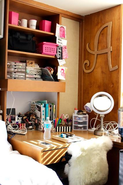 dorm desk overview - Texas Tech Dorm Rooms Tour by popular Texas lifestyle blogger Audrey Madison Stowe