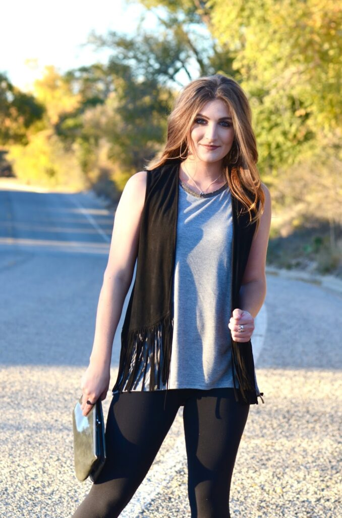 fringe, fall, black, outfit