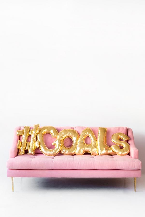 goals, diy, balloon letter pillows