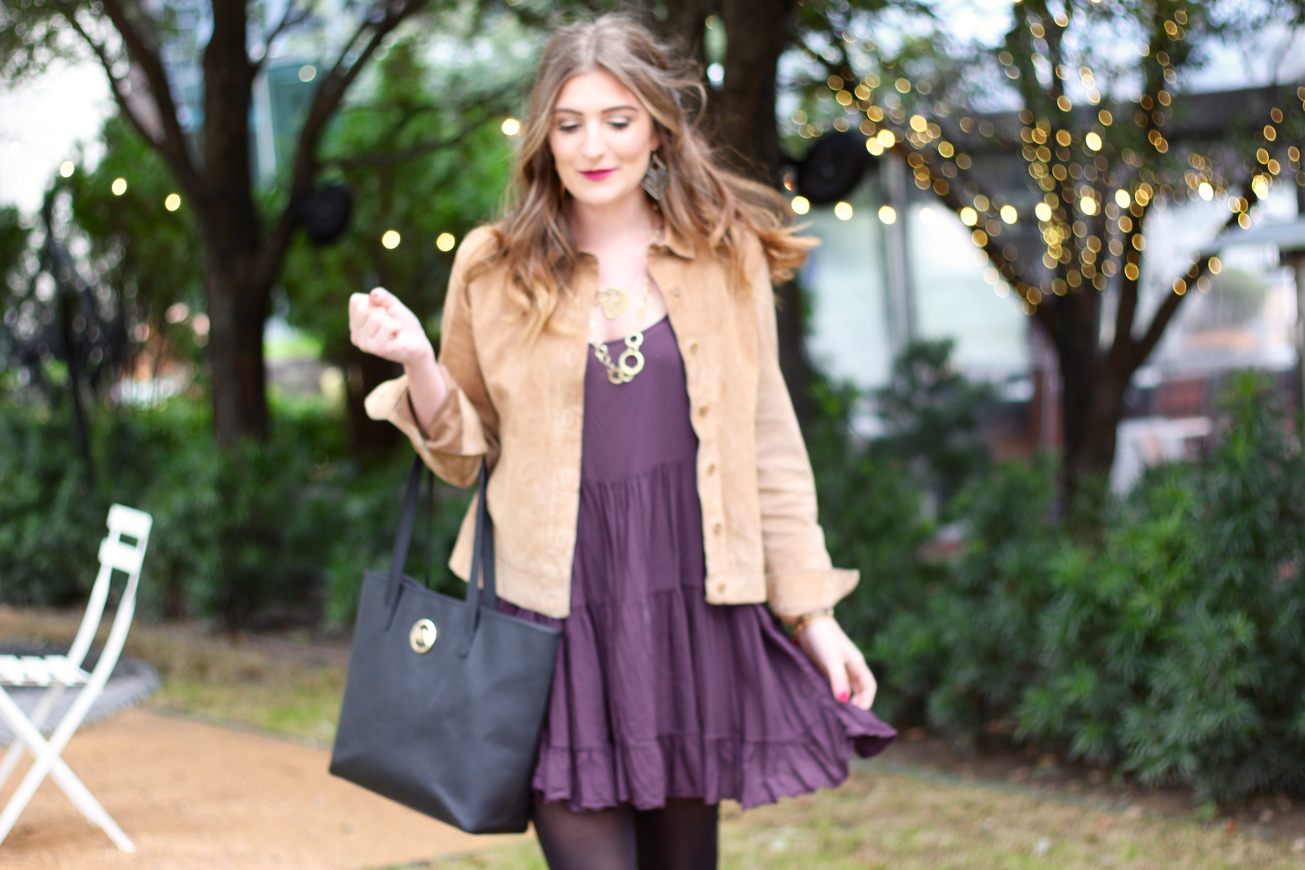 pretty purple dress and suede style