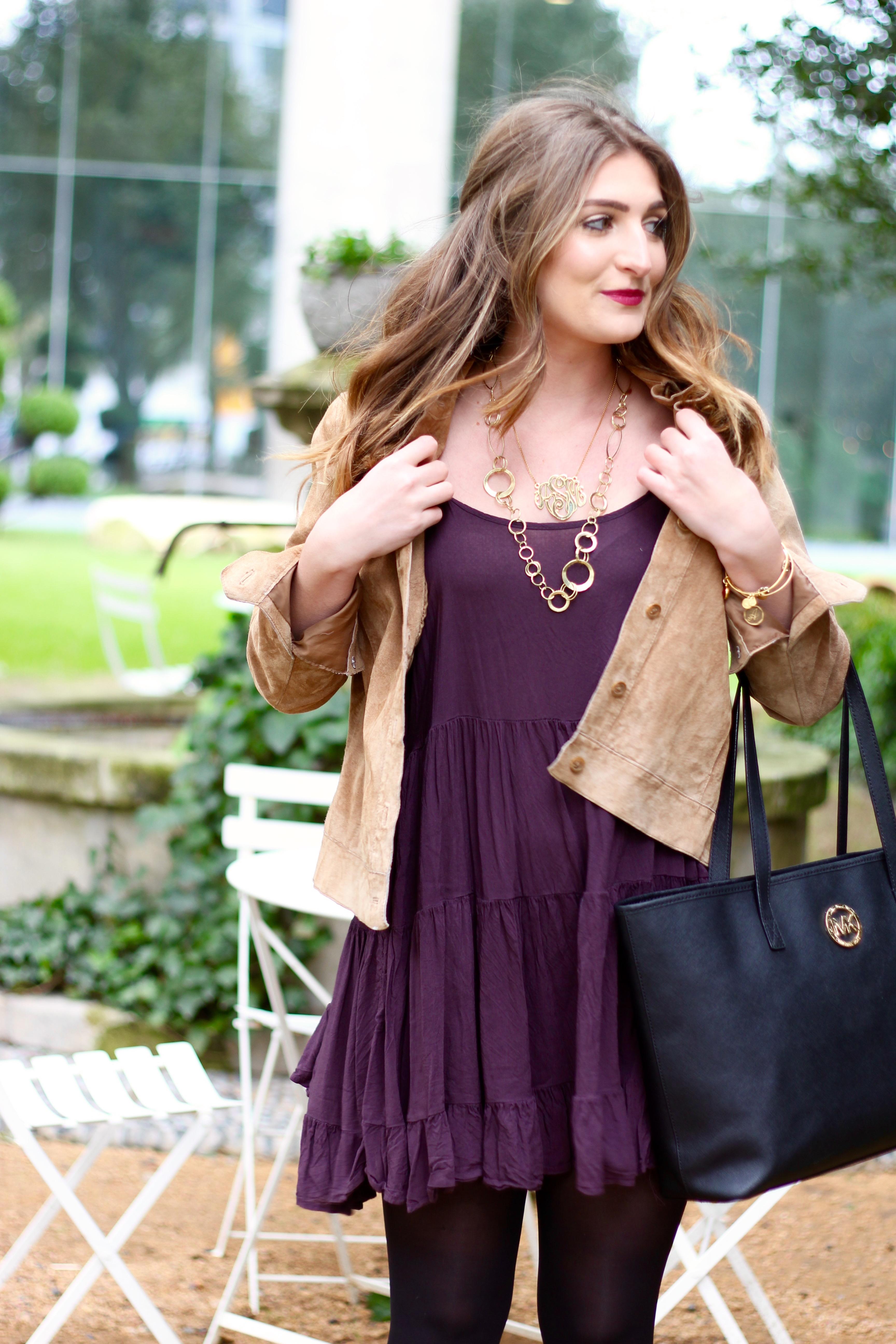 purple flowy dress from summer to winter