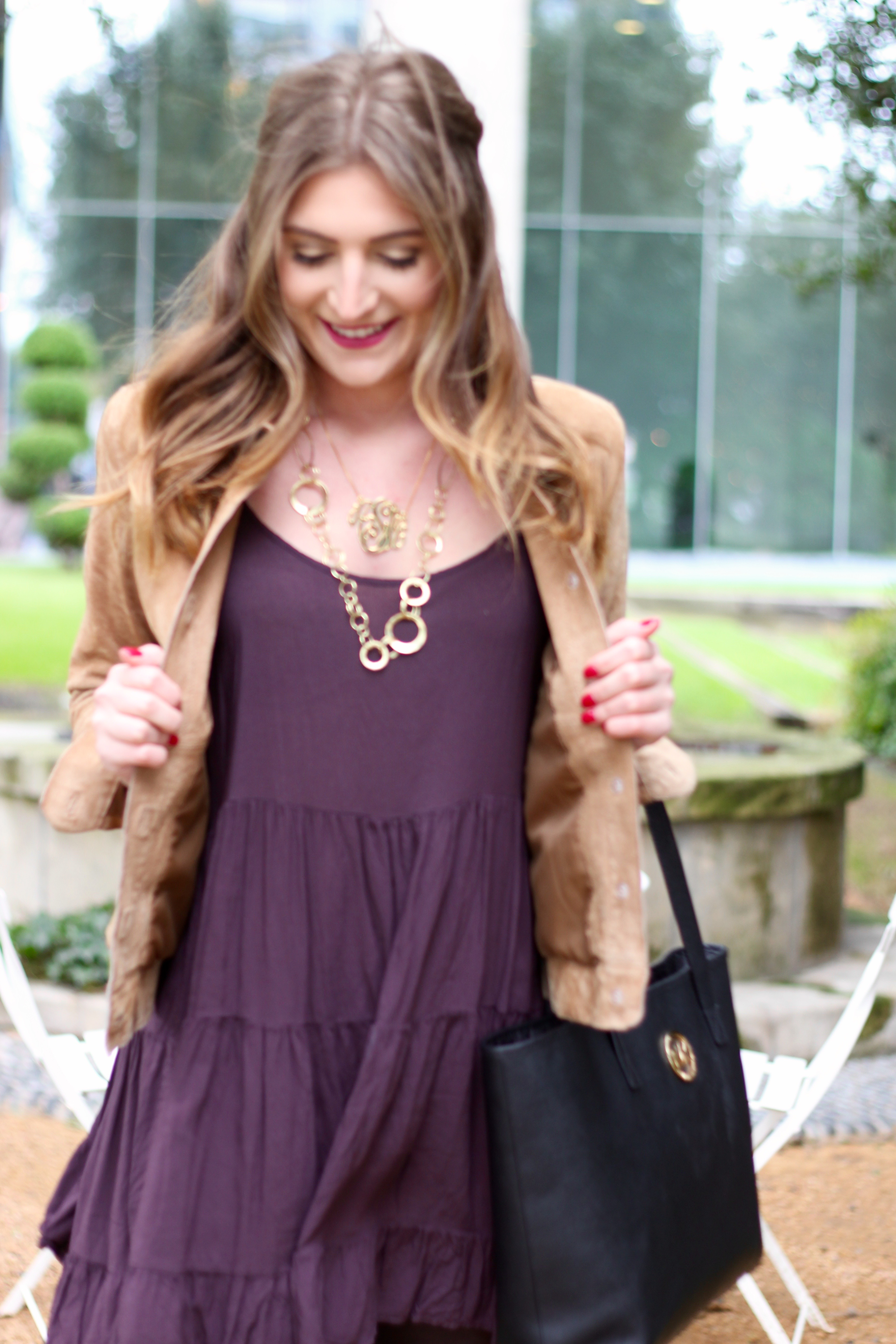 purple winter flowy dress
