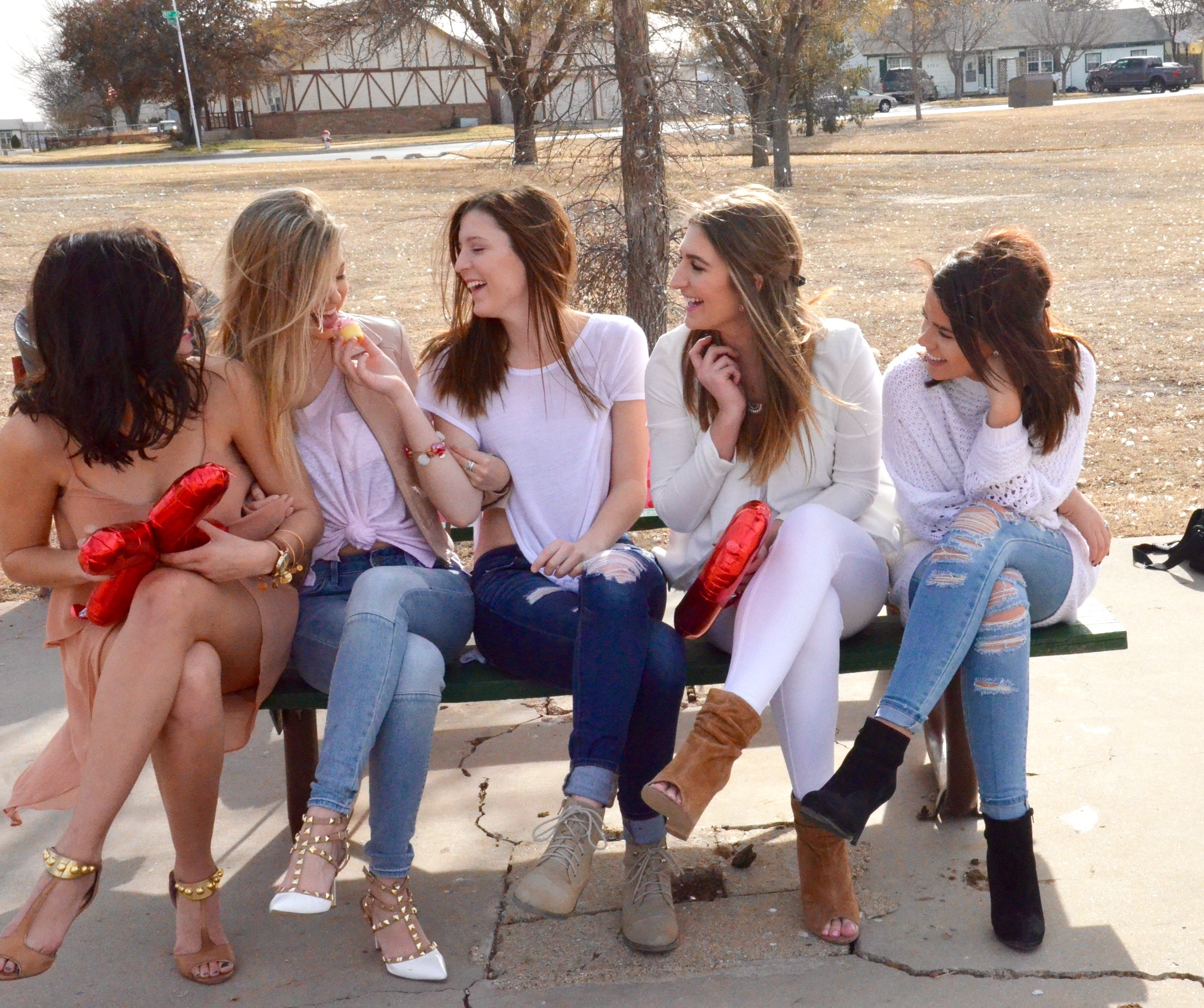 sorority girls laughing on valentines day
