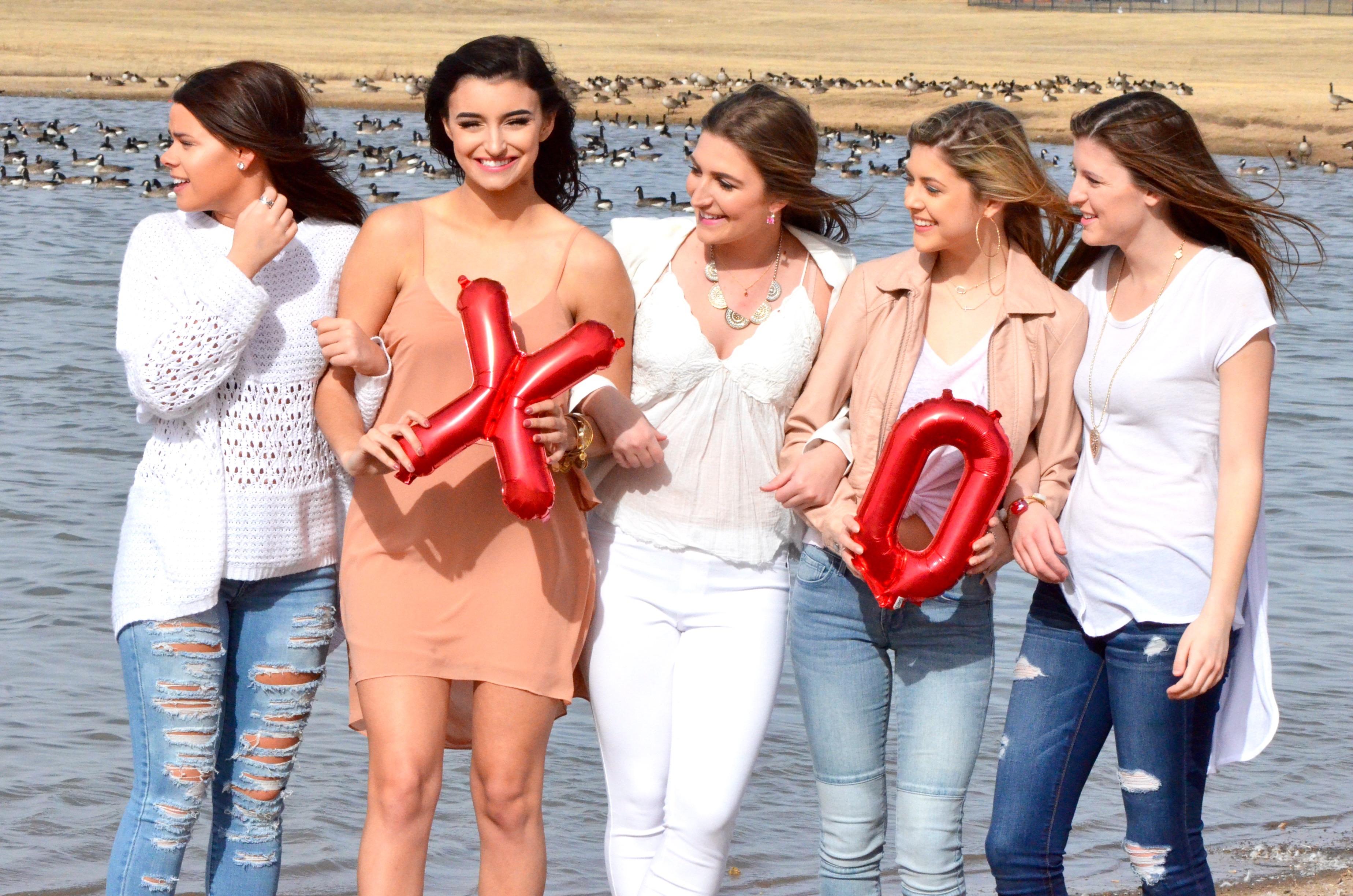 sorority girls outside for valentines