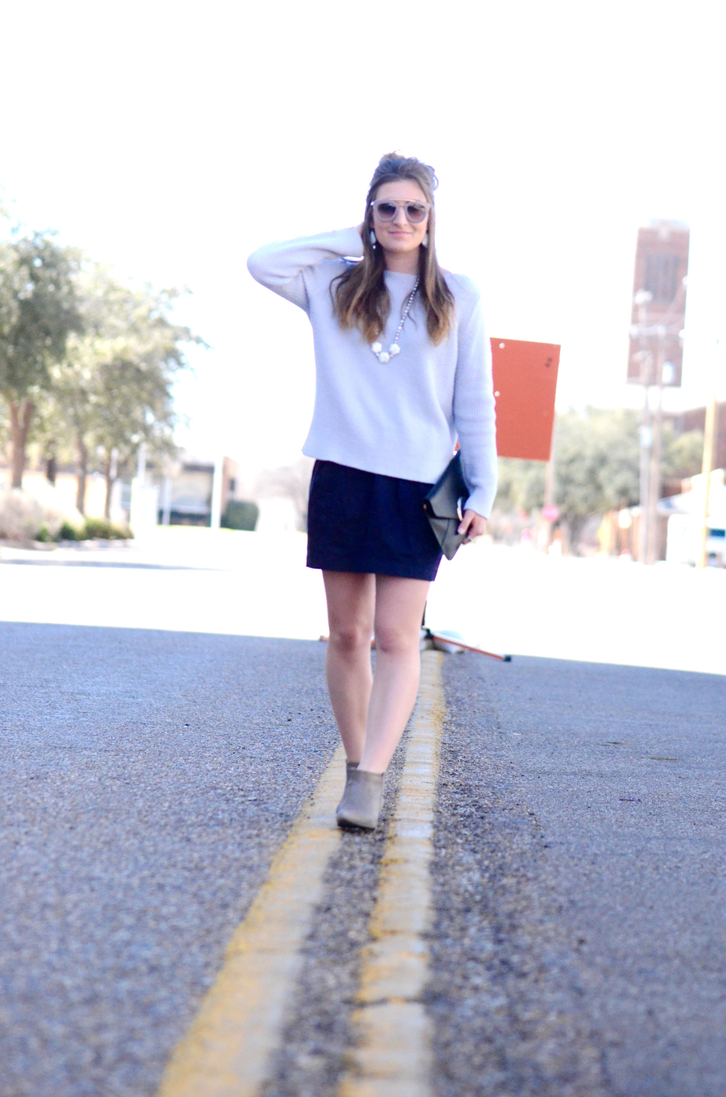 shades of blue skirt and sweater