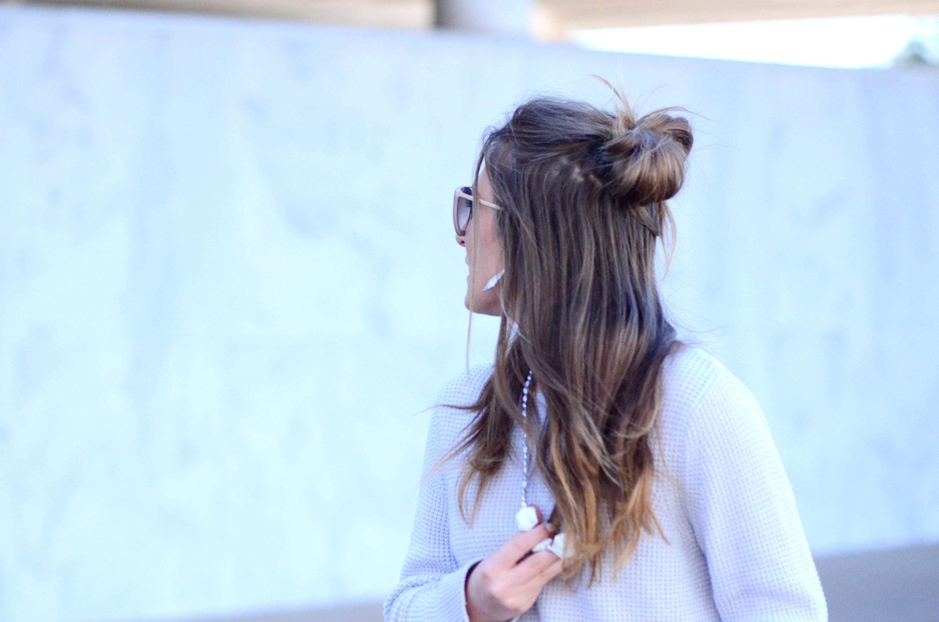 half up top knot hair