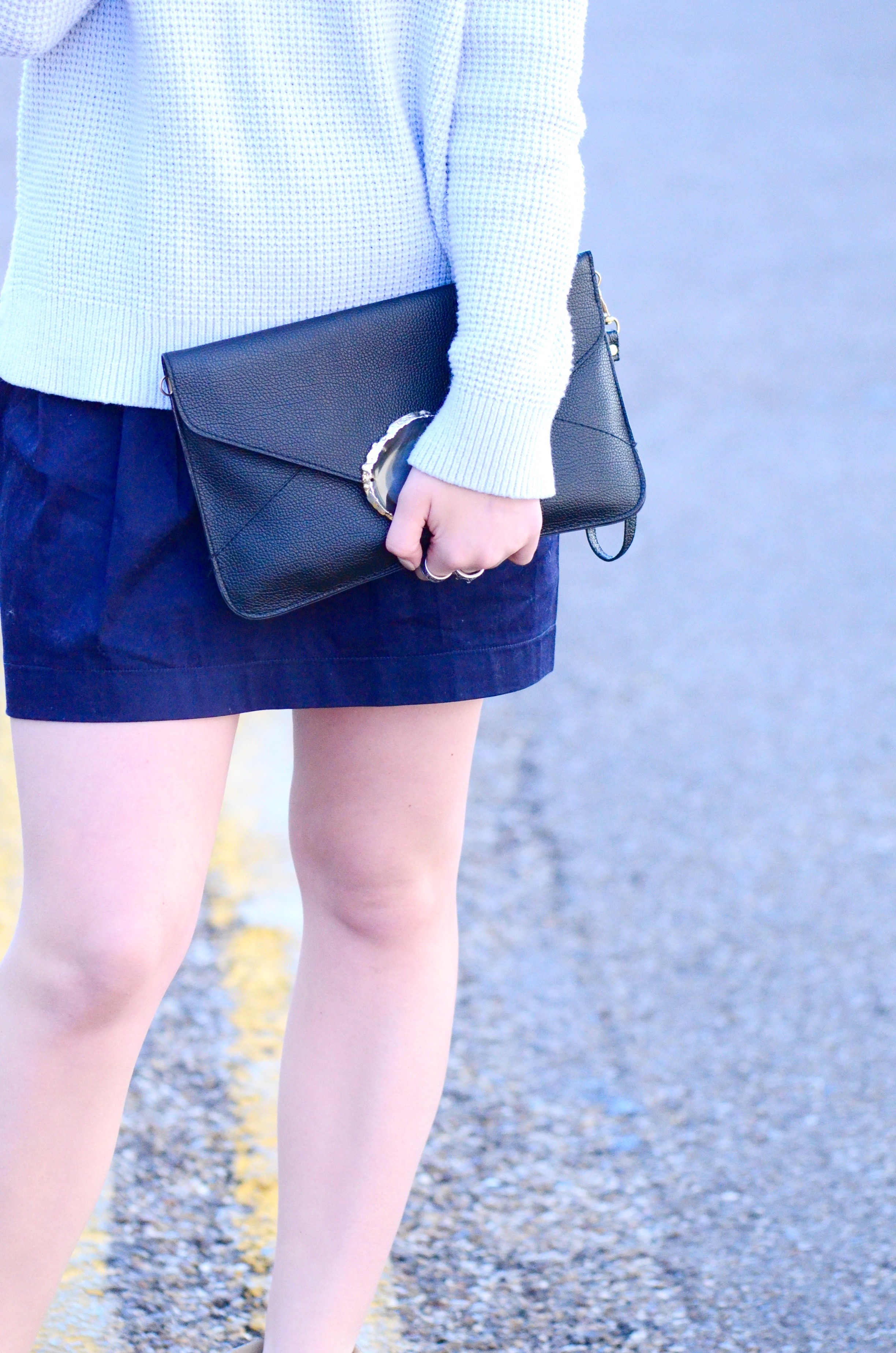 black clutch with blue outfit