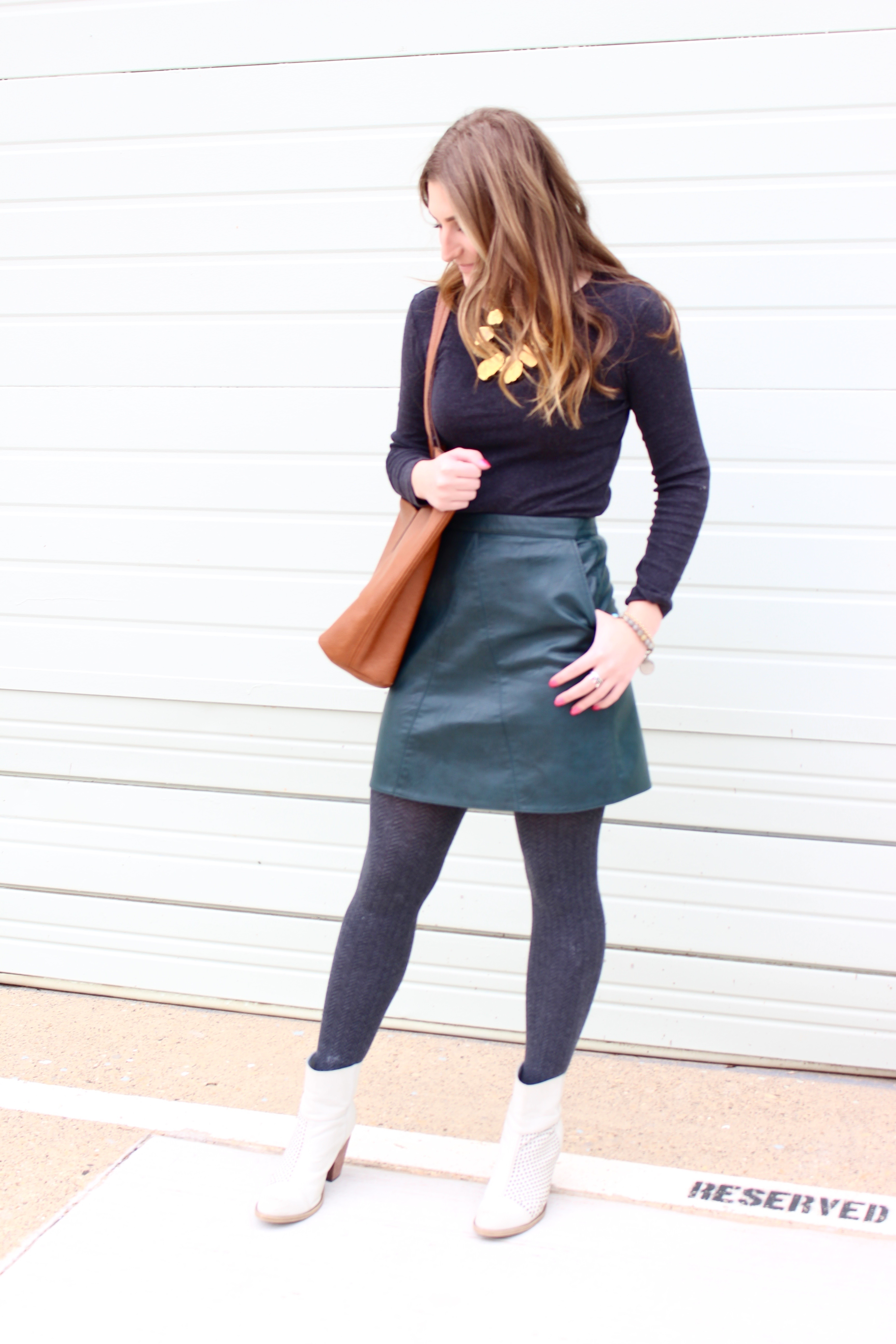 amazing quality leather skirt - Green Leather Skirt by popular Texas fashion blogger Audrey Madison Stowe
