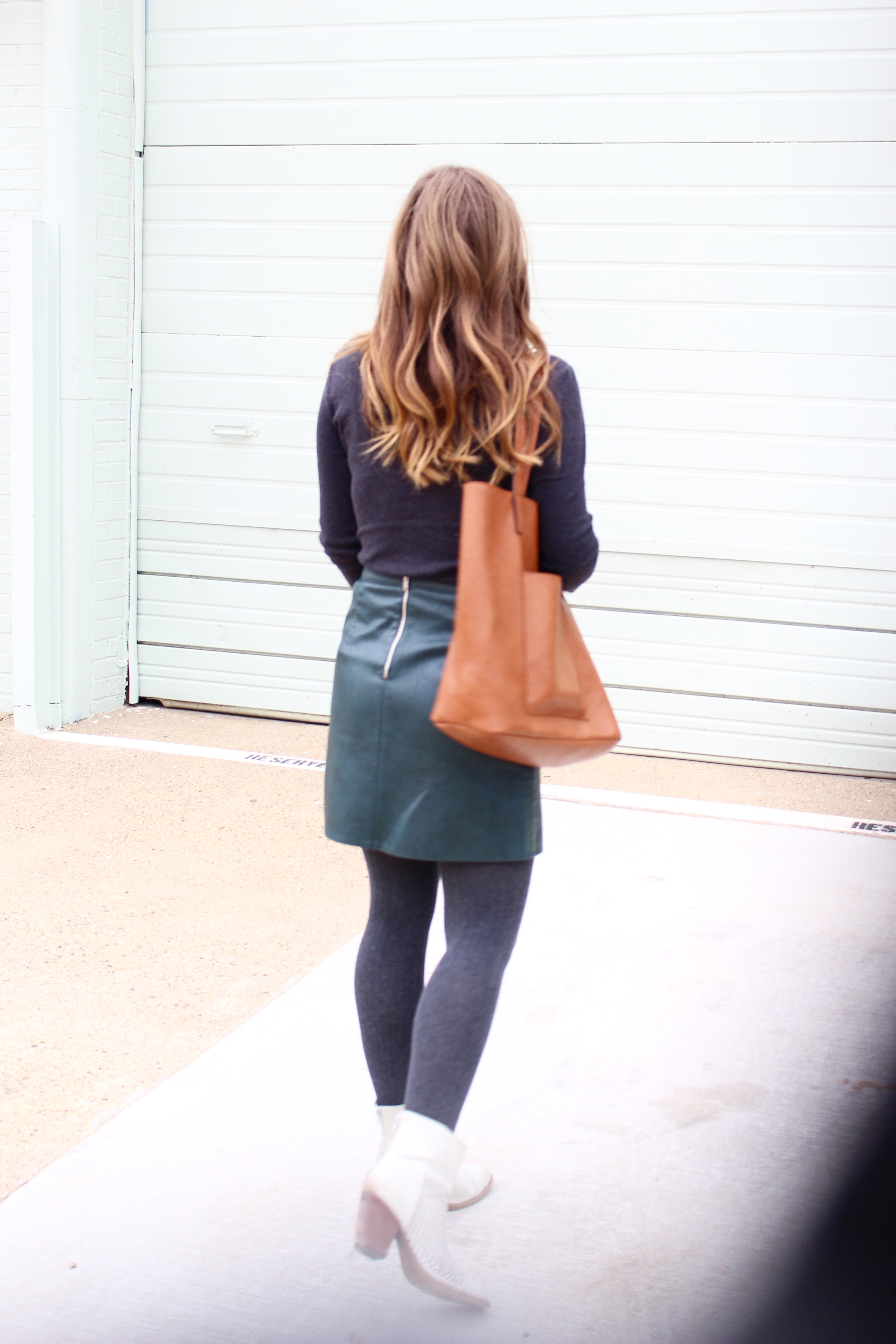 complete outfit of a leather skirt