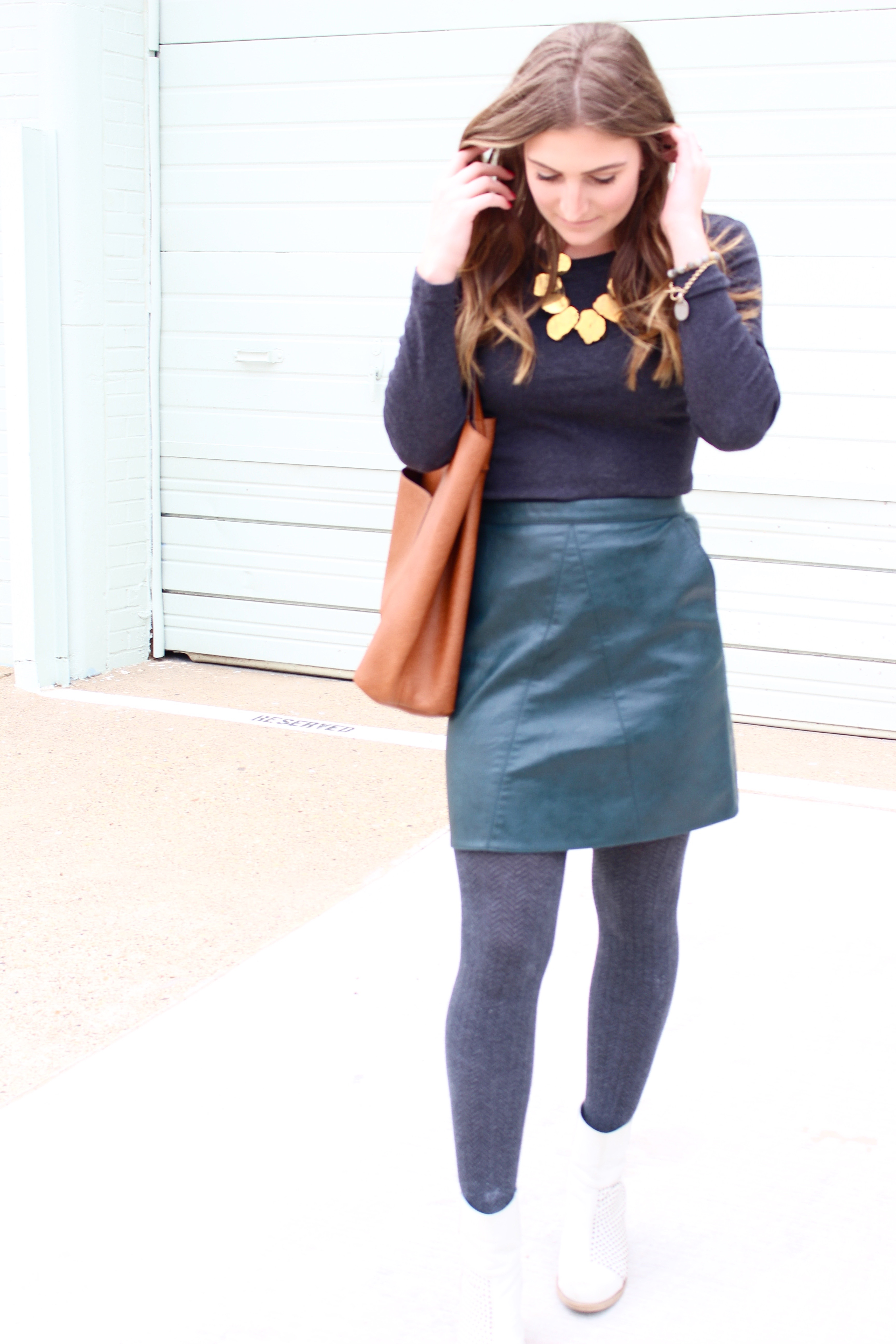 leather green skirt from zara - Green Leather Skirt by popular Texas fashion blogger Audrey Madison Stowe