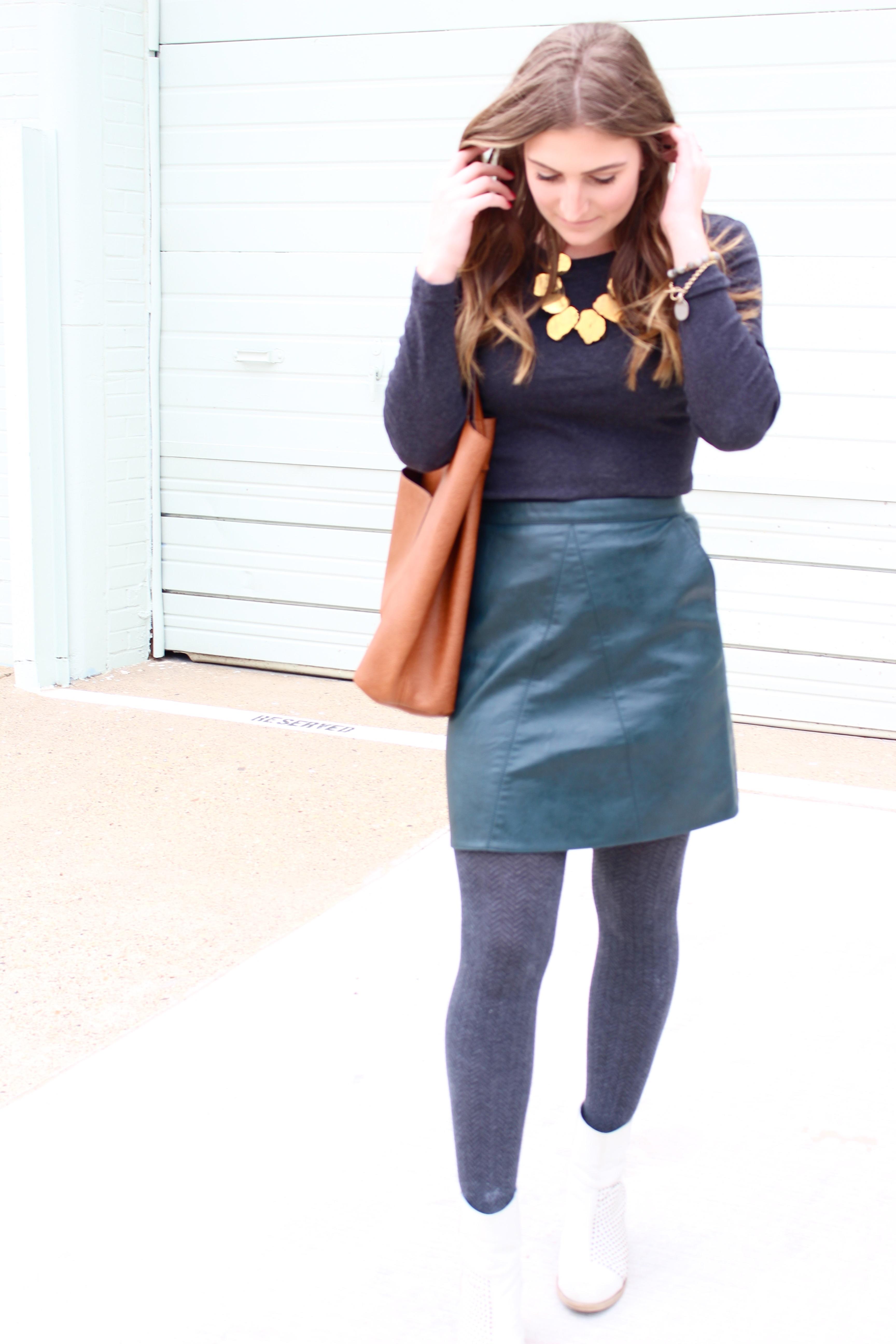 leather green skirt from zara