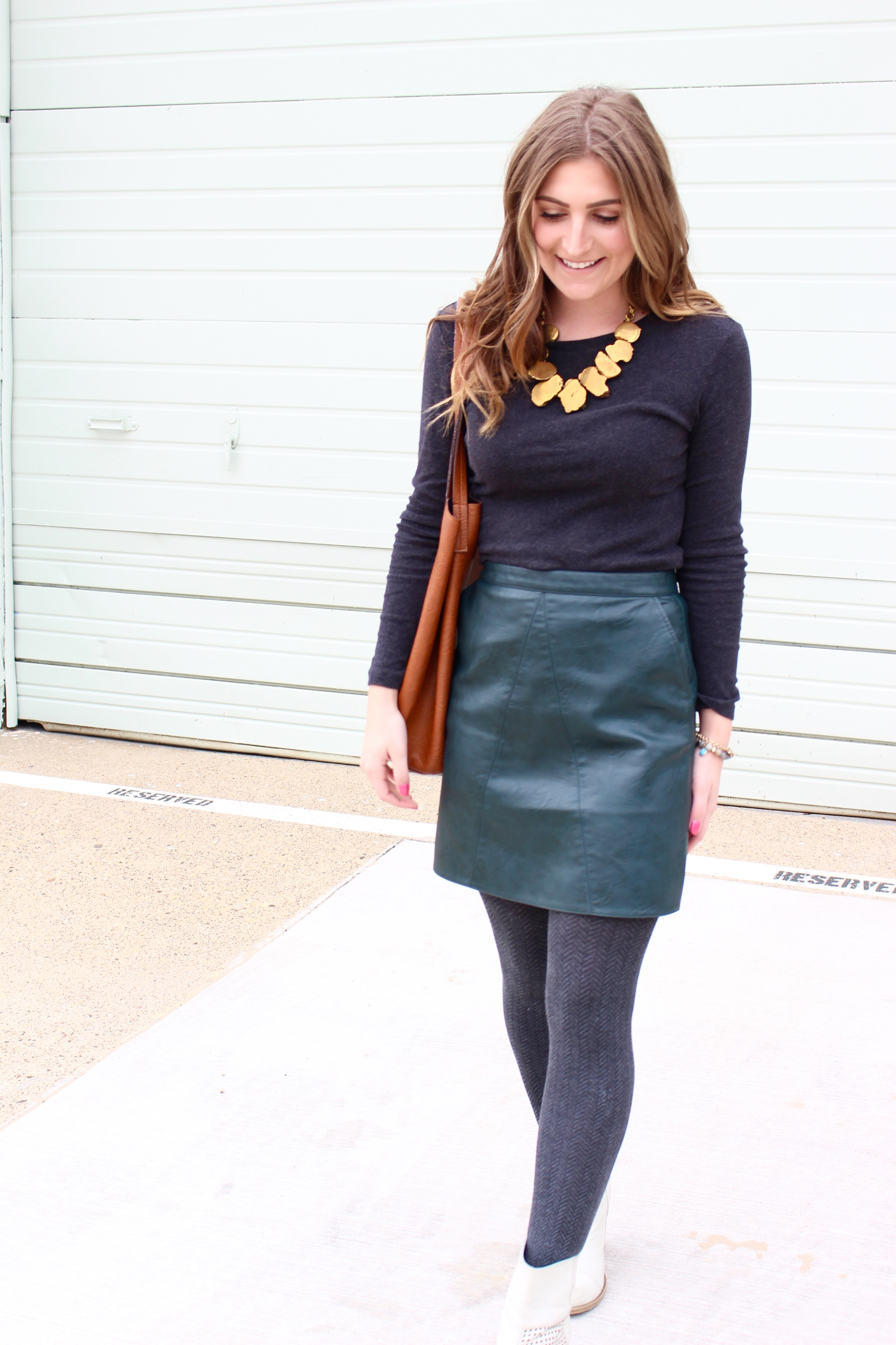 ootd for a style outfit - Green Leather Skirt by popular Texas fashion blogger Audrey Madison Stowe