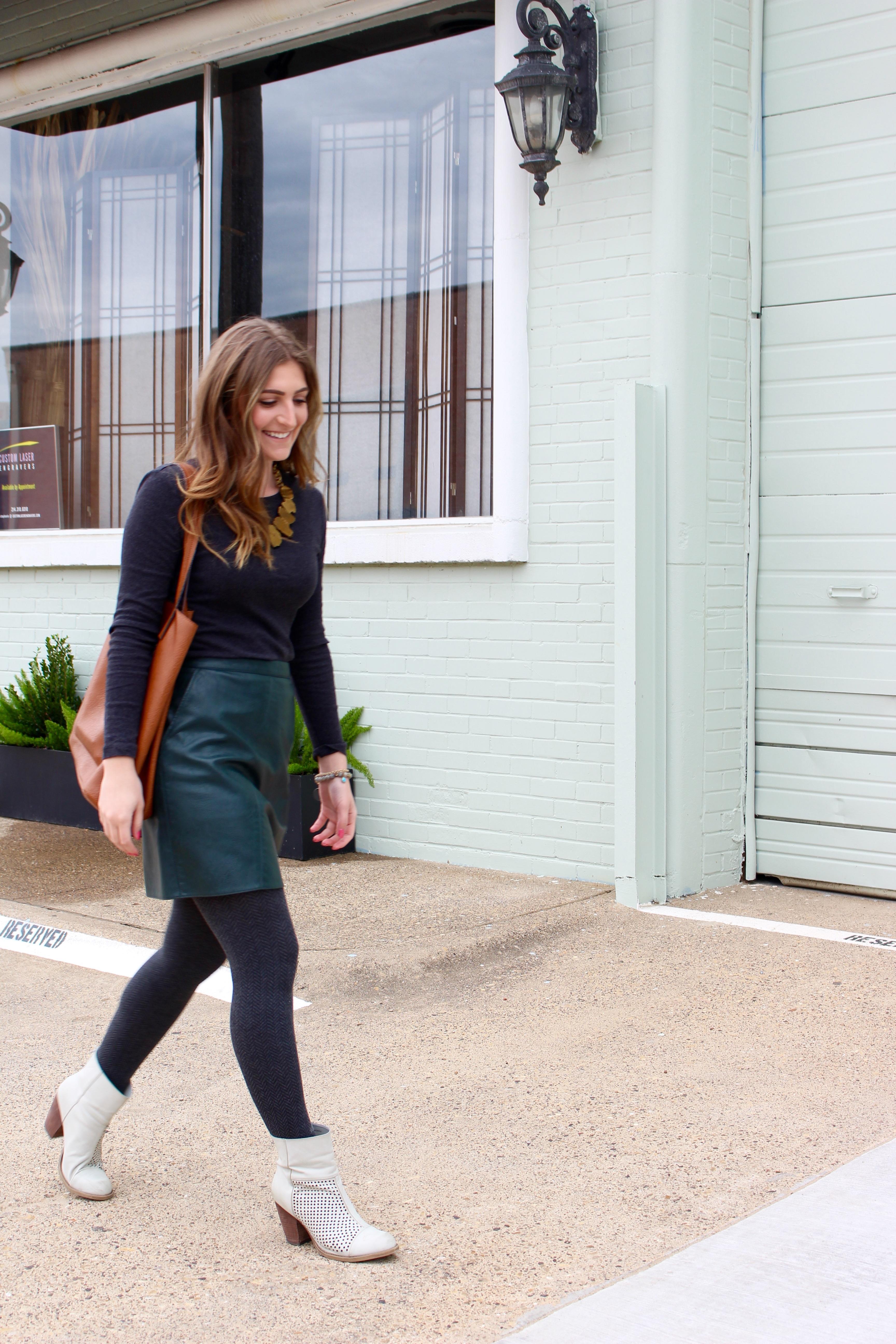 walking in dallas in a green leather skirt