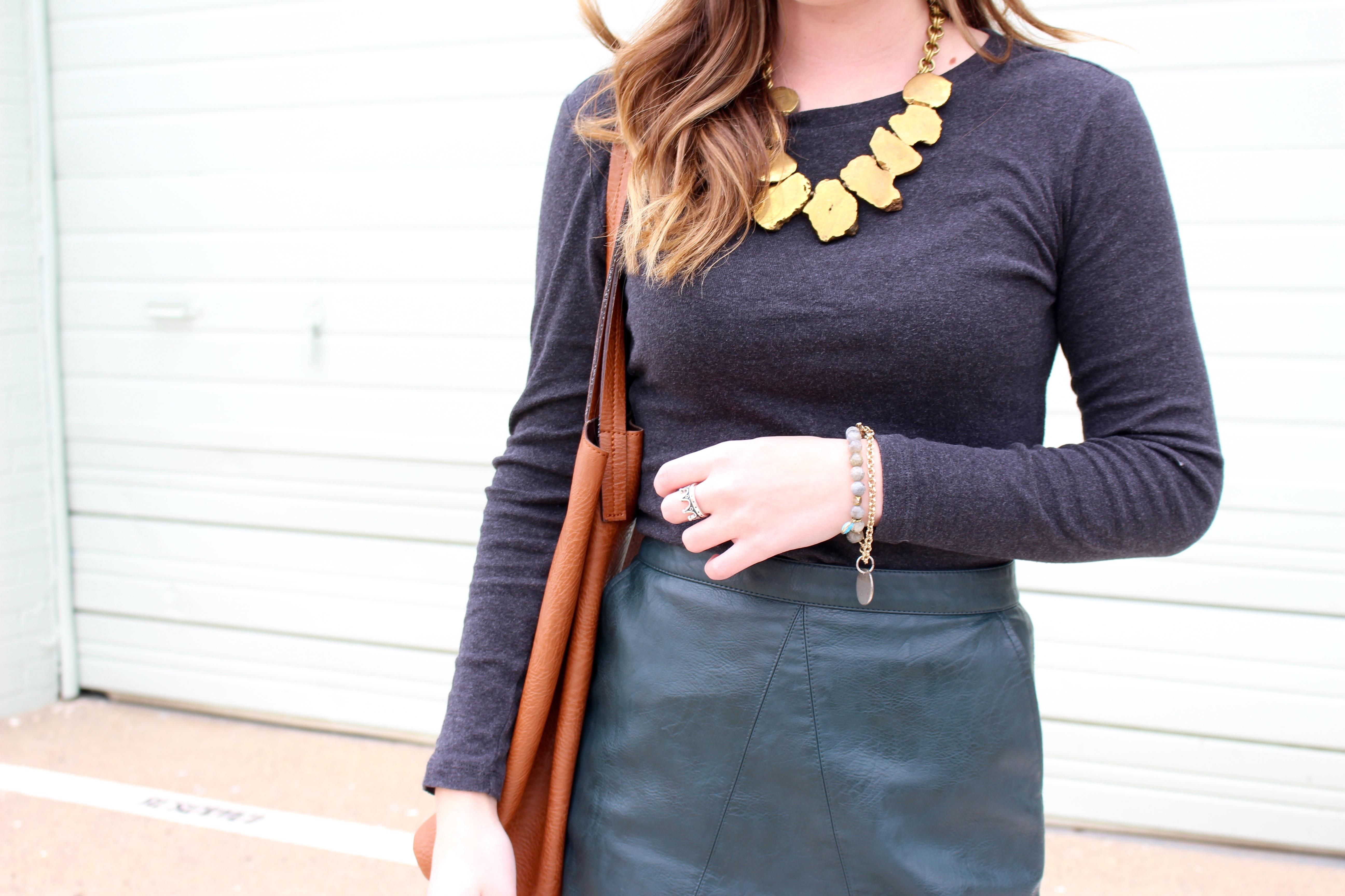 green leather versatile skirt