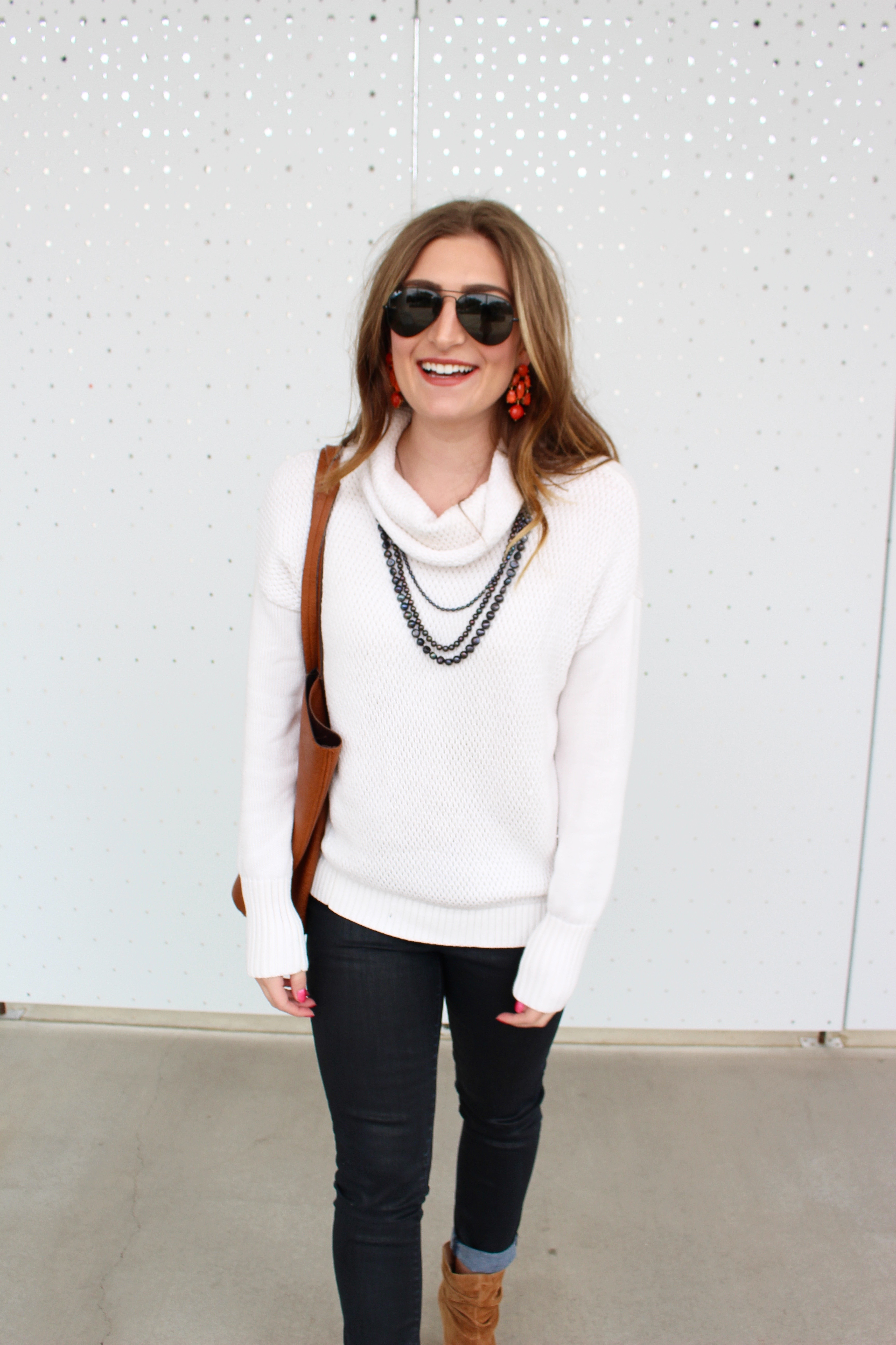 smiling in white