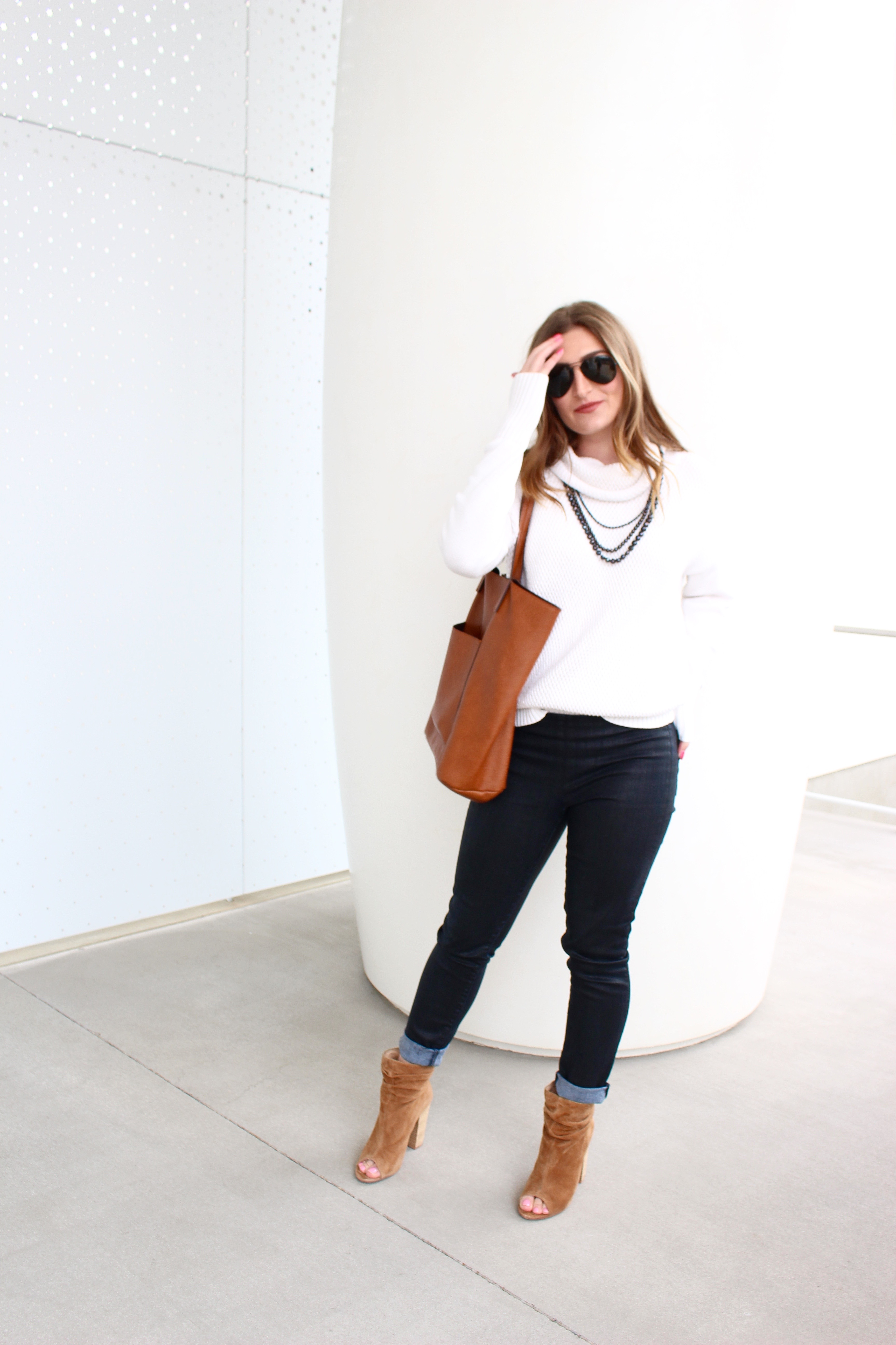 white turtleneck and peep toe shoes