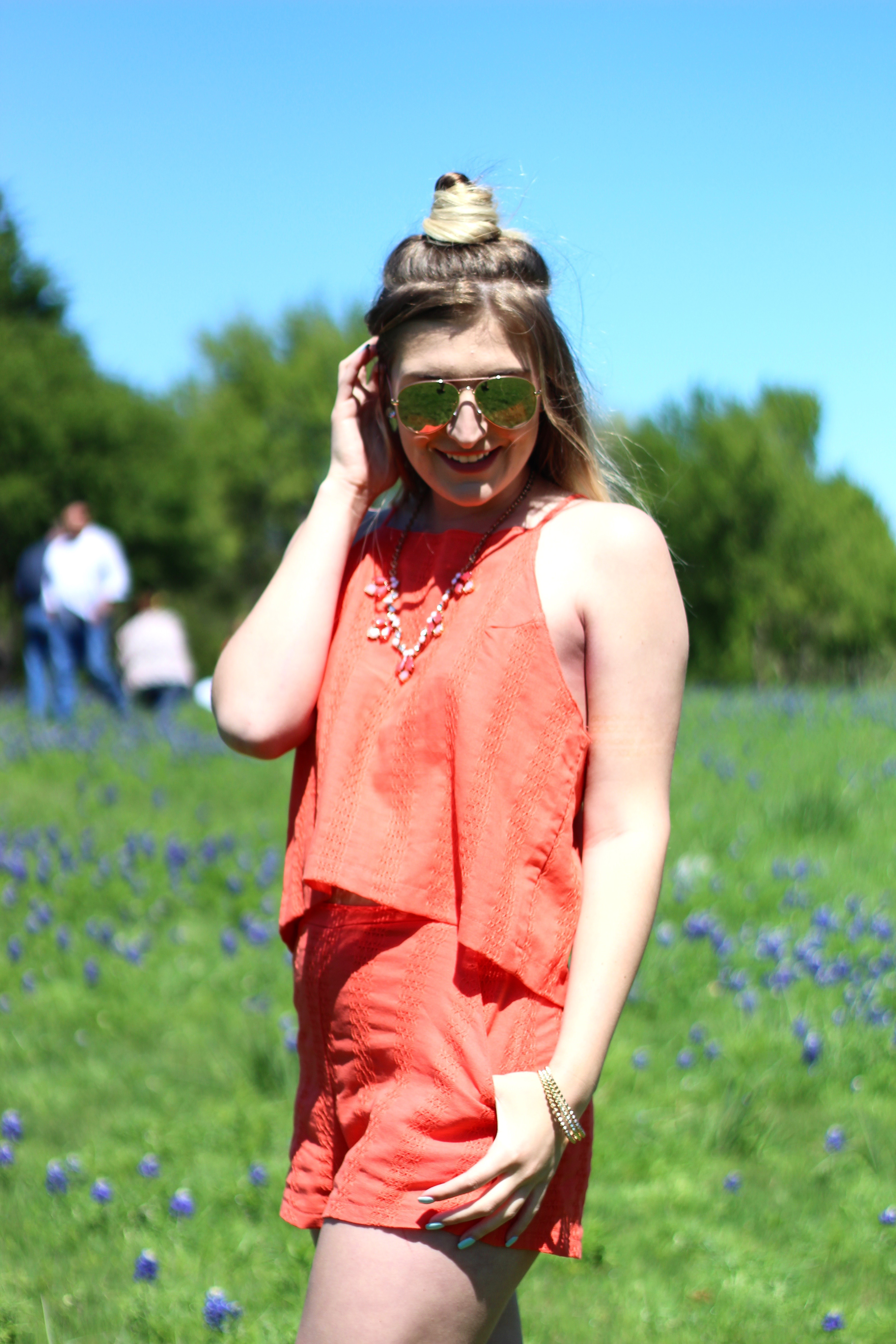 blue bonnets in texas in an orange set