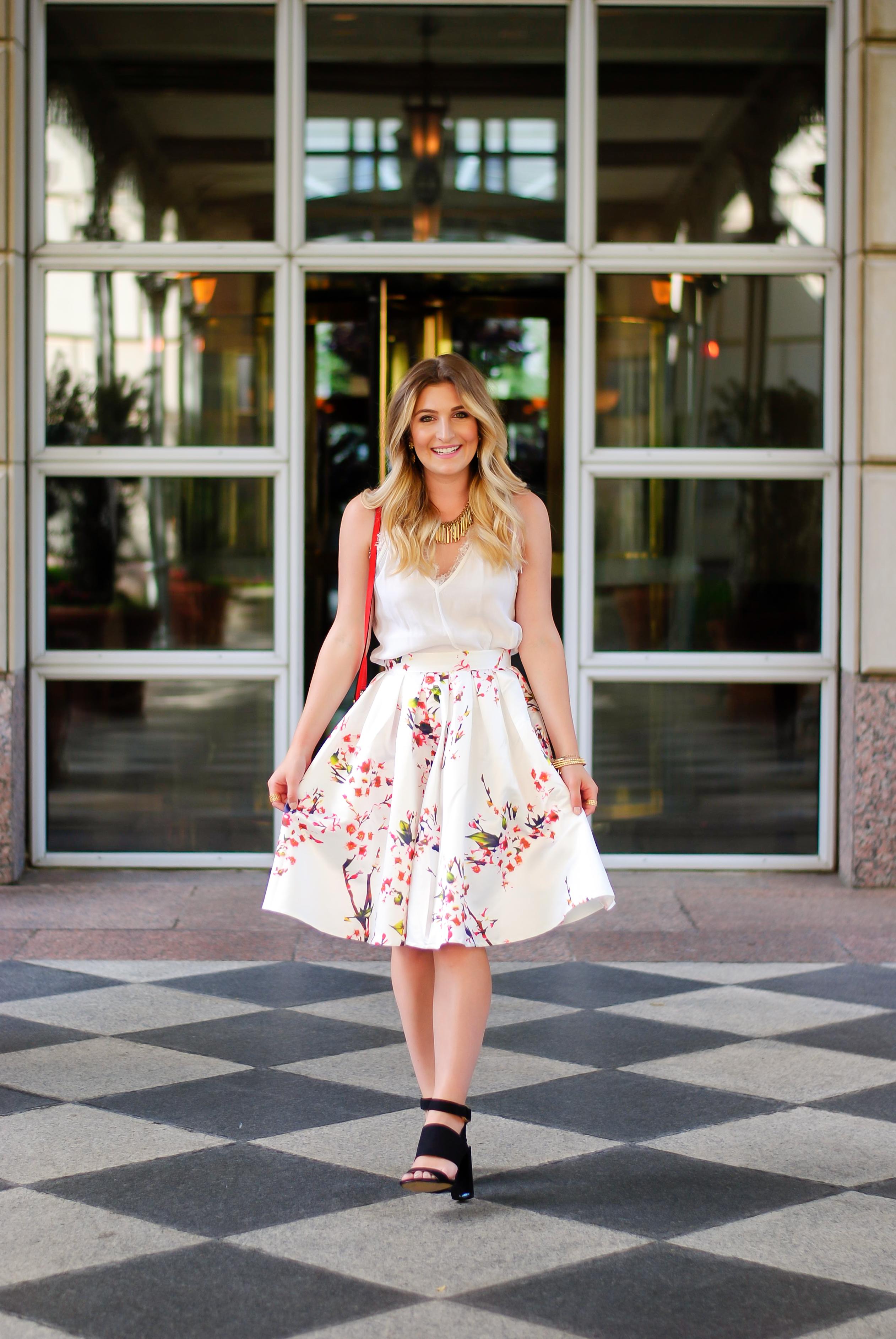 floral summer skirt and light summer top | Audrey Madison Stowe Blog