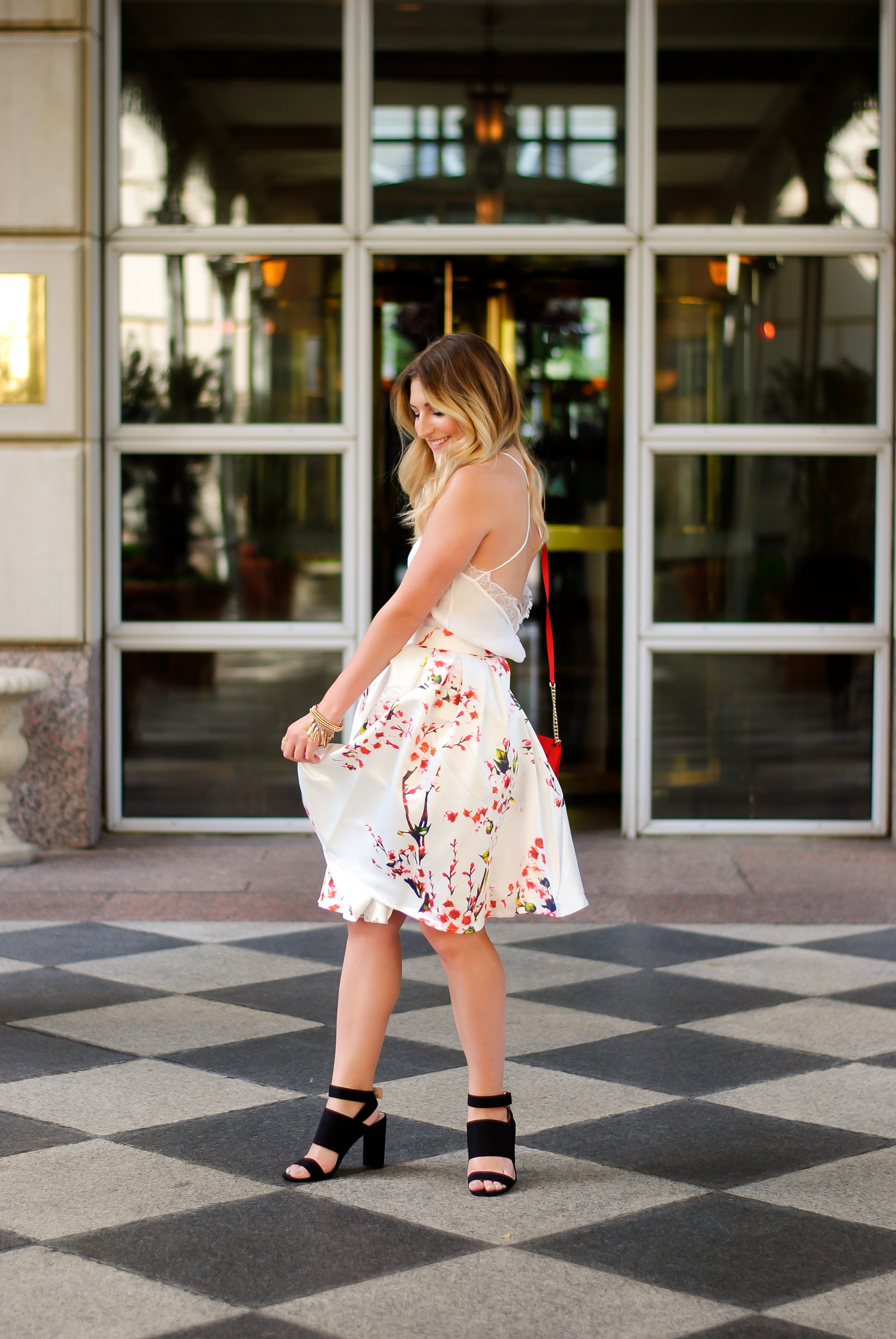 Feminine floral skirt and glamorous outfit | Audrey Madison Stowe Blog
