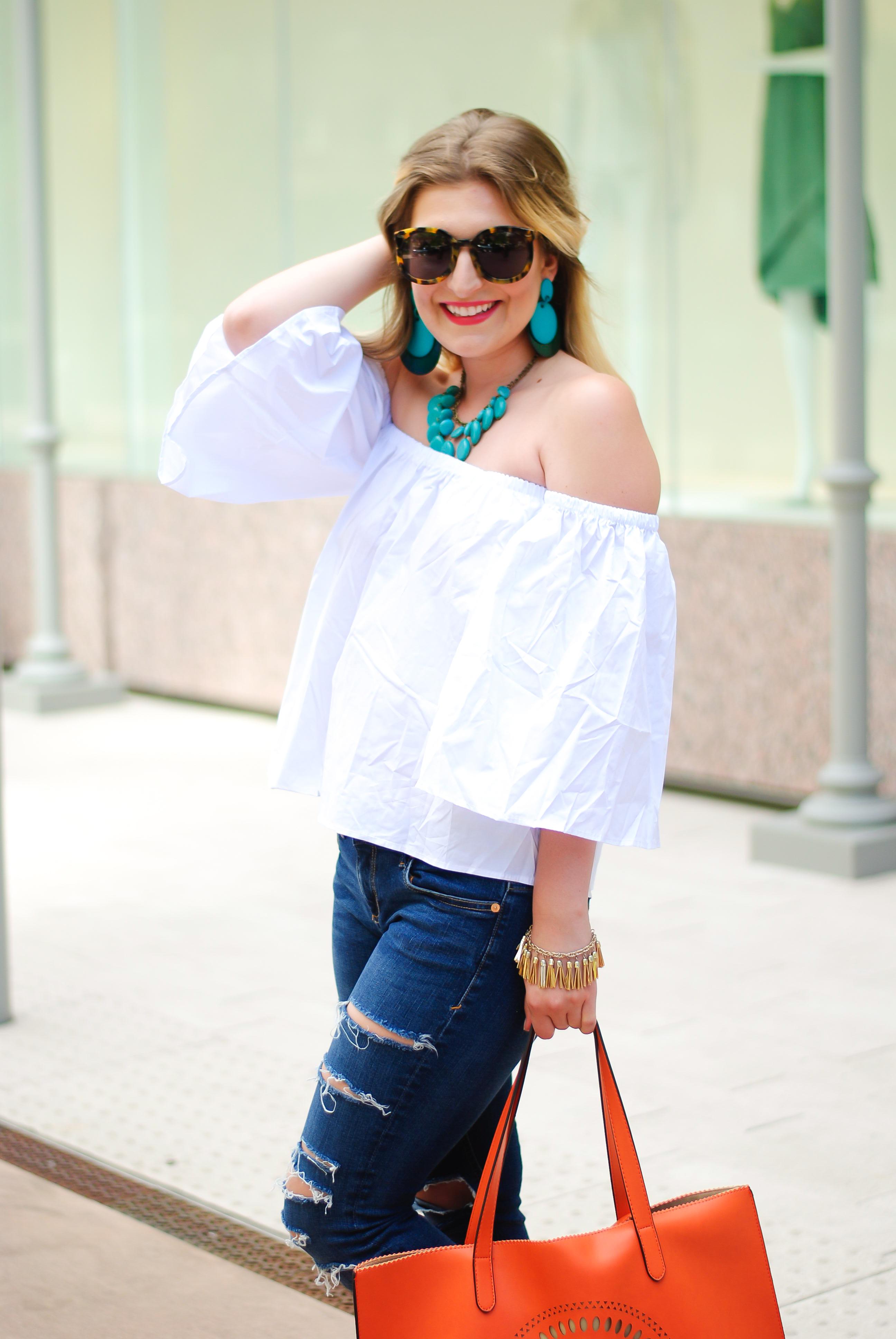 white OTS top | Audrey Madison Stowe Blog