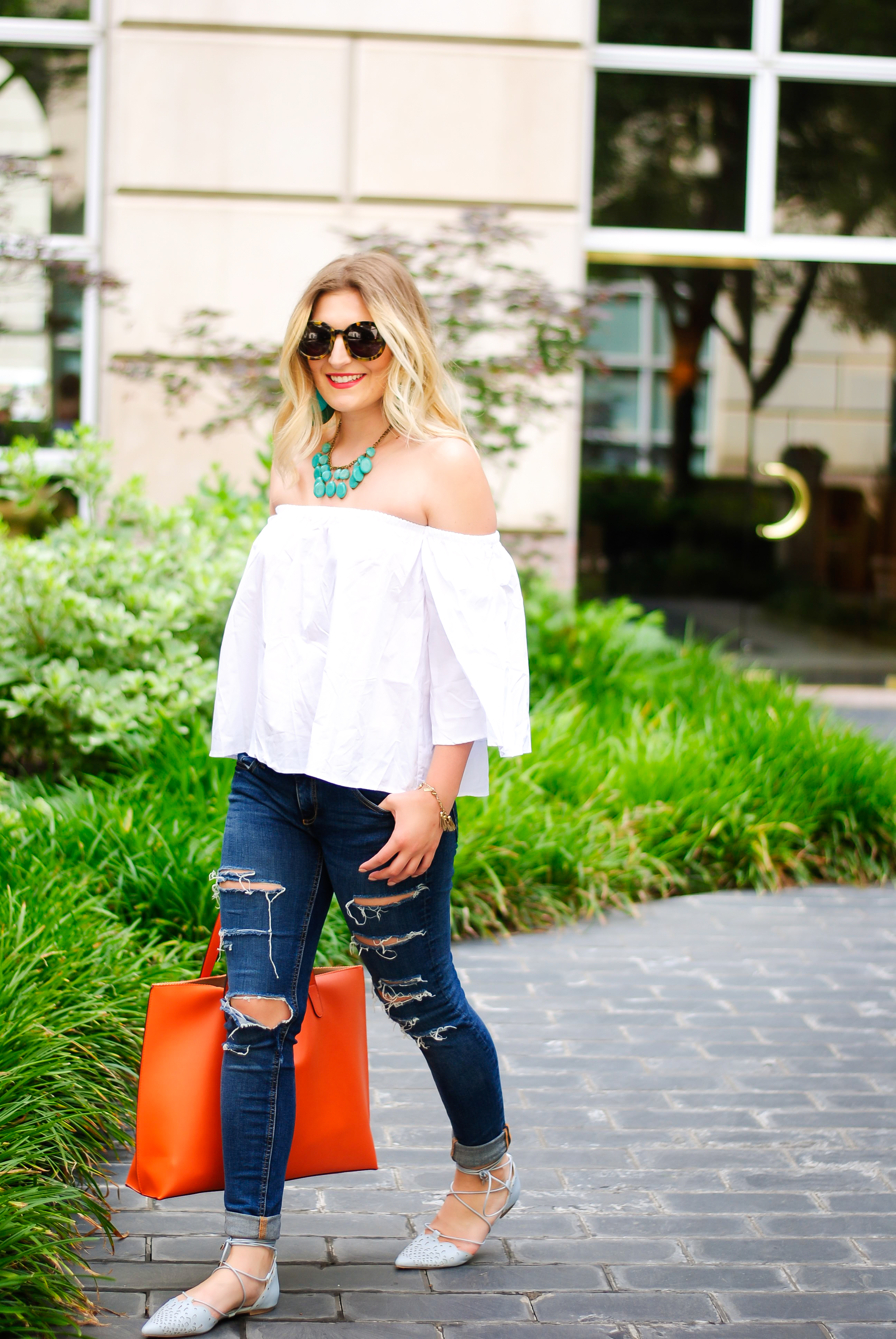 white OTS top from romwe | Audrey Madison Stowe Blog