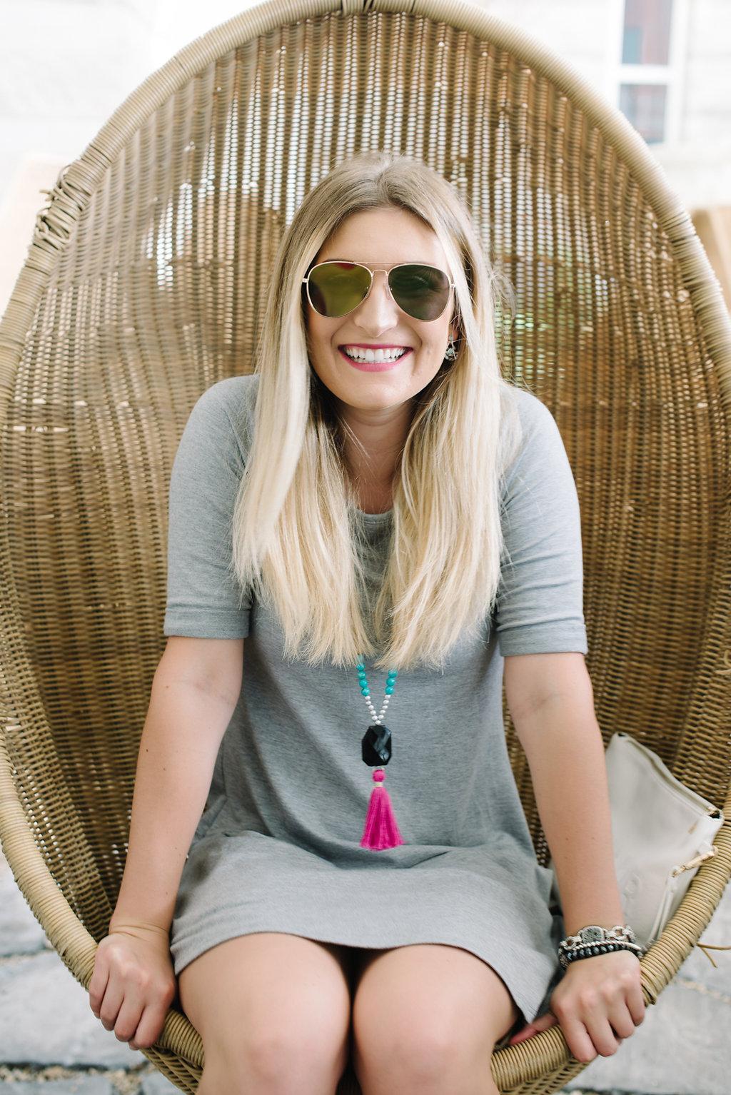 bailey blue dress and makeup | Audrey Madison Stowe Blog