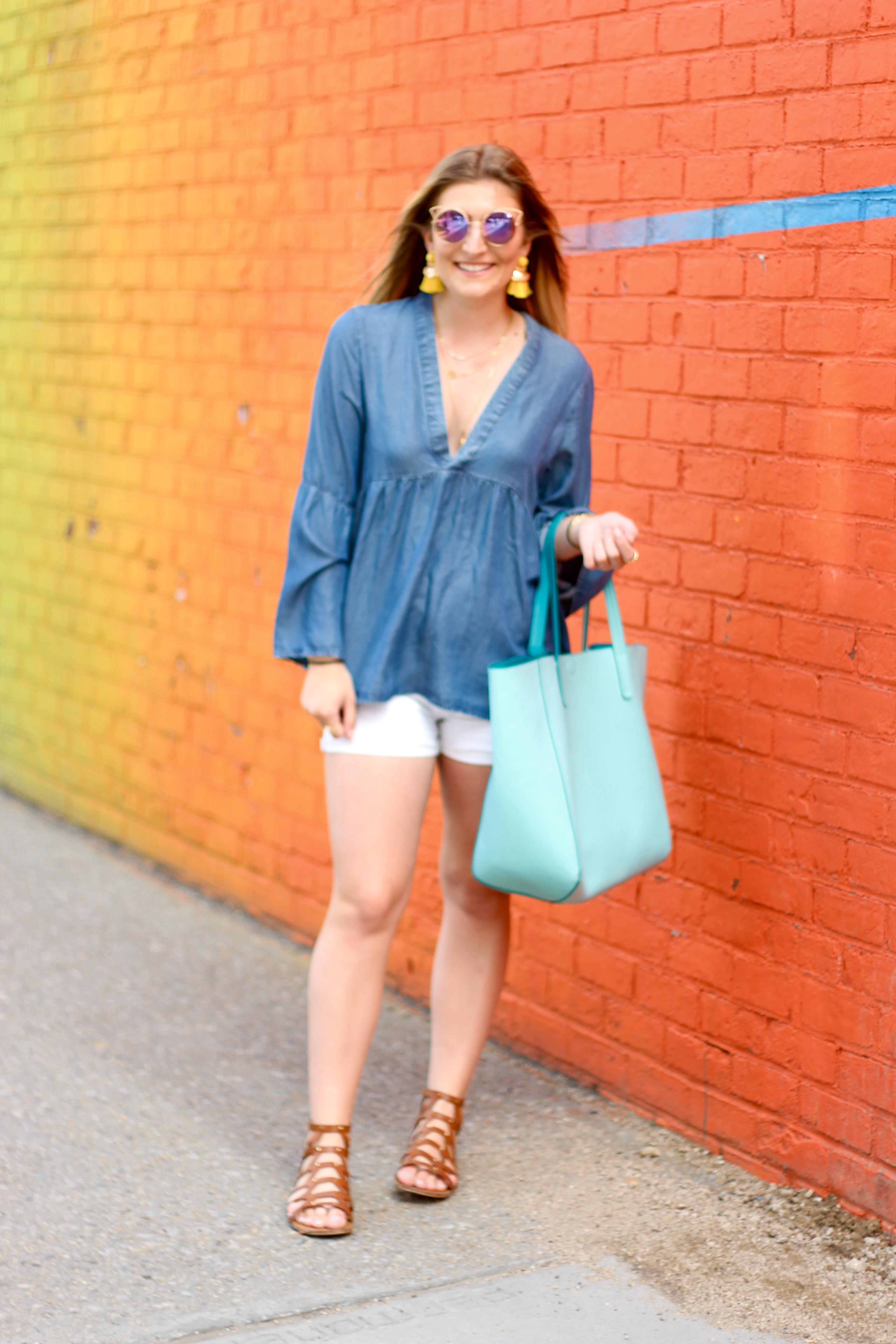 brooklyn dumbo wall fashion | Audrey Madison Stowe Blog - Rainbow Wall in Brooklyn by popular Texas travel blogger Audrey Madison Stowe