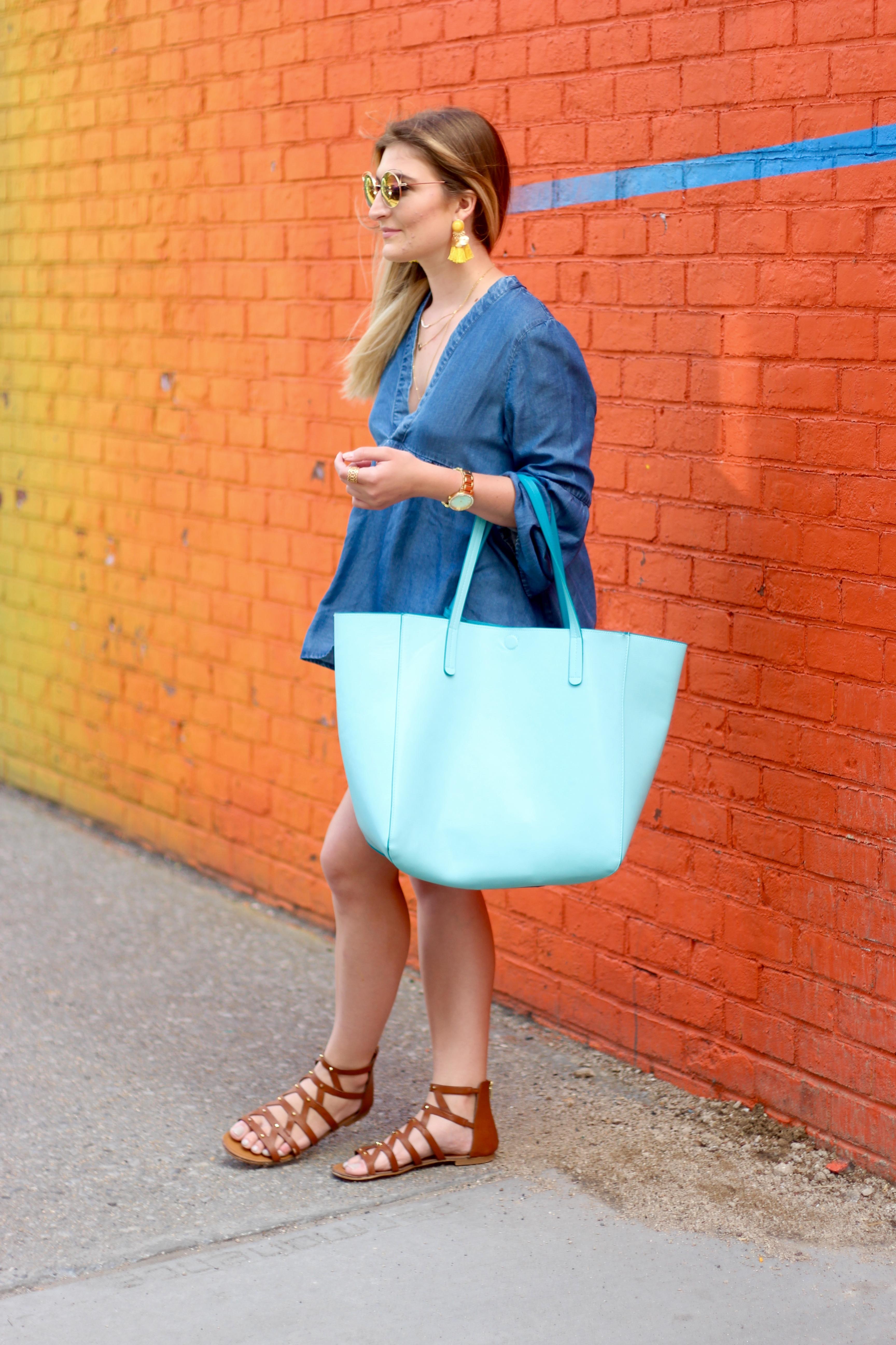 summer in brooklyn fashion | Audrey Madison Stowe Blog - Rainbow Wall in Brooklyn by popular Texas travel blogger Audrey Madison Stowe