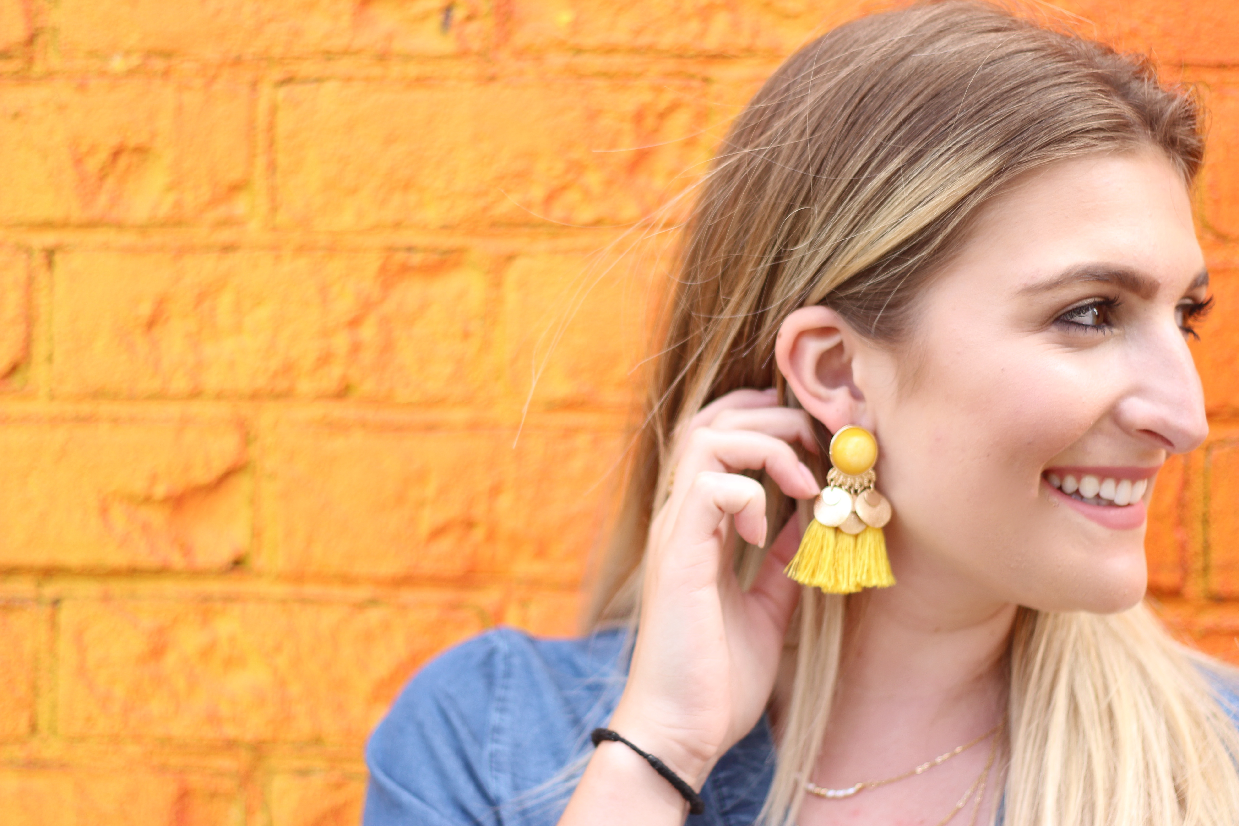 rainbow wall and summer earrings | Audrey Madison Stowe Blog - Rainbow Wall in Brooklyn by popular Texas travel blogger Audrey Madison Stowe