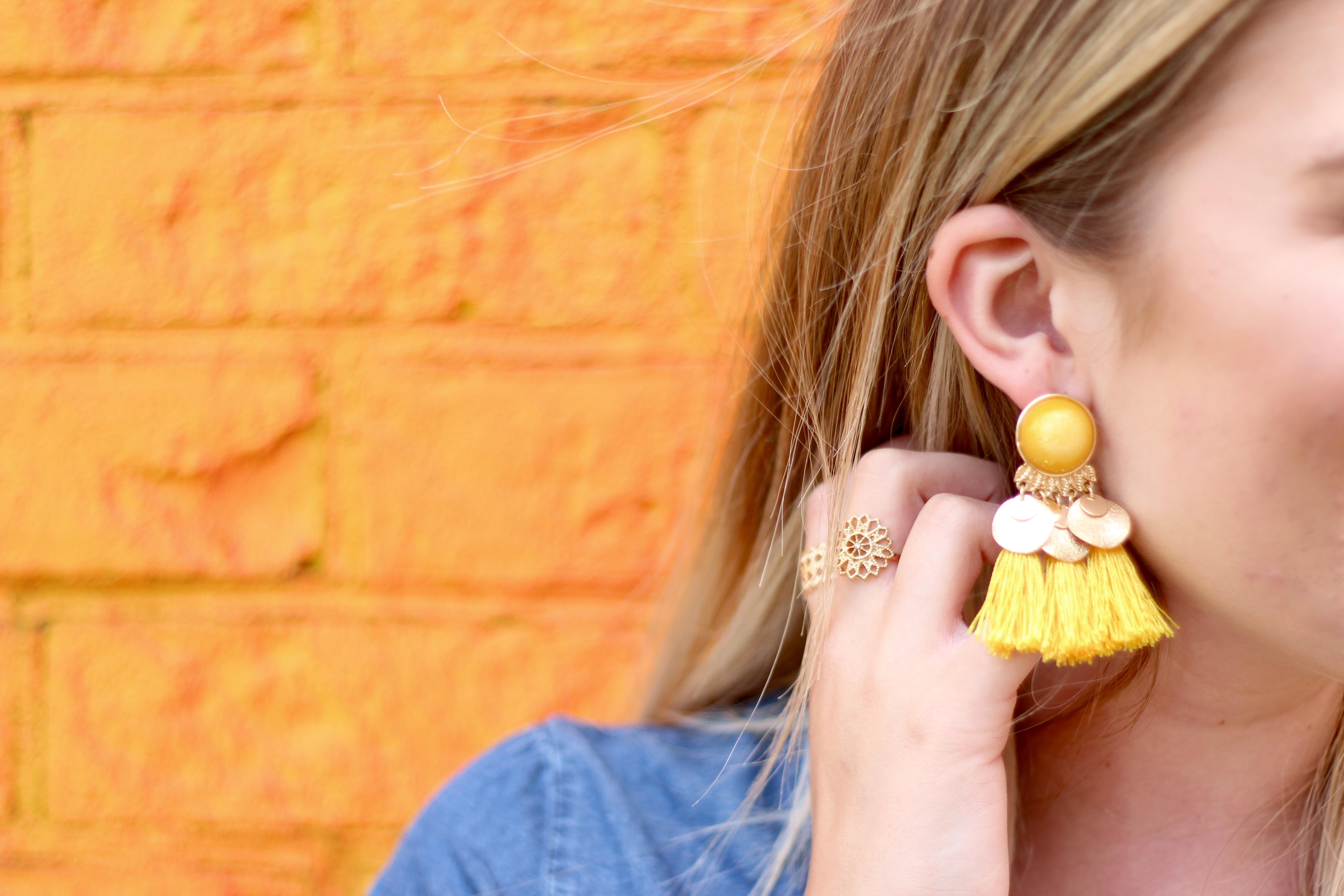 summer tassel earrings | Audrey Madison Stowe Blog - Rainbow Wall in Brooklyn by popular Texas travel blogger Audrey Madison Stowe