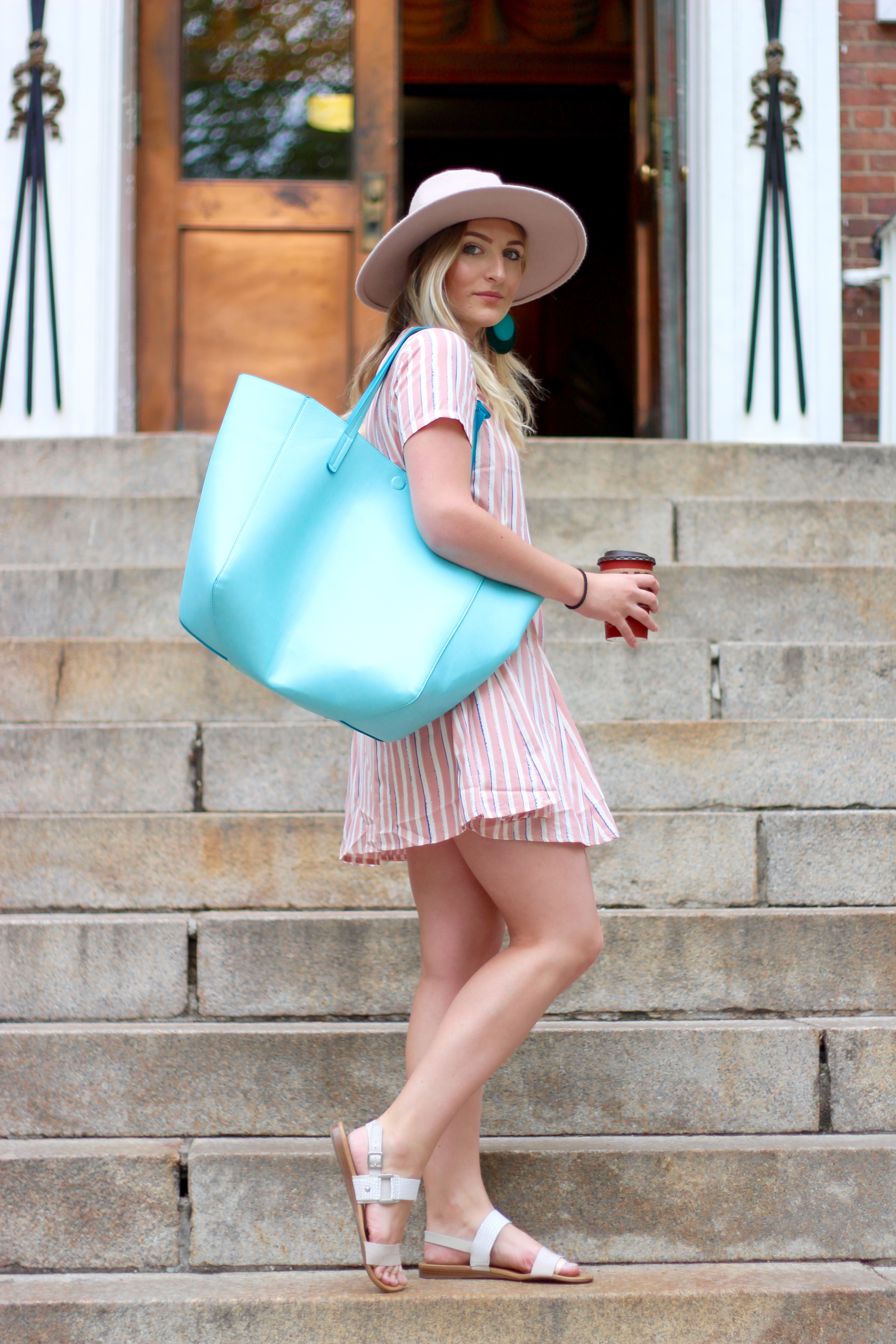 pick shift dress and blue bag | Audrey Madison Stowe Blog