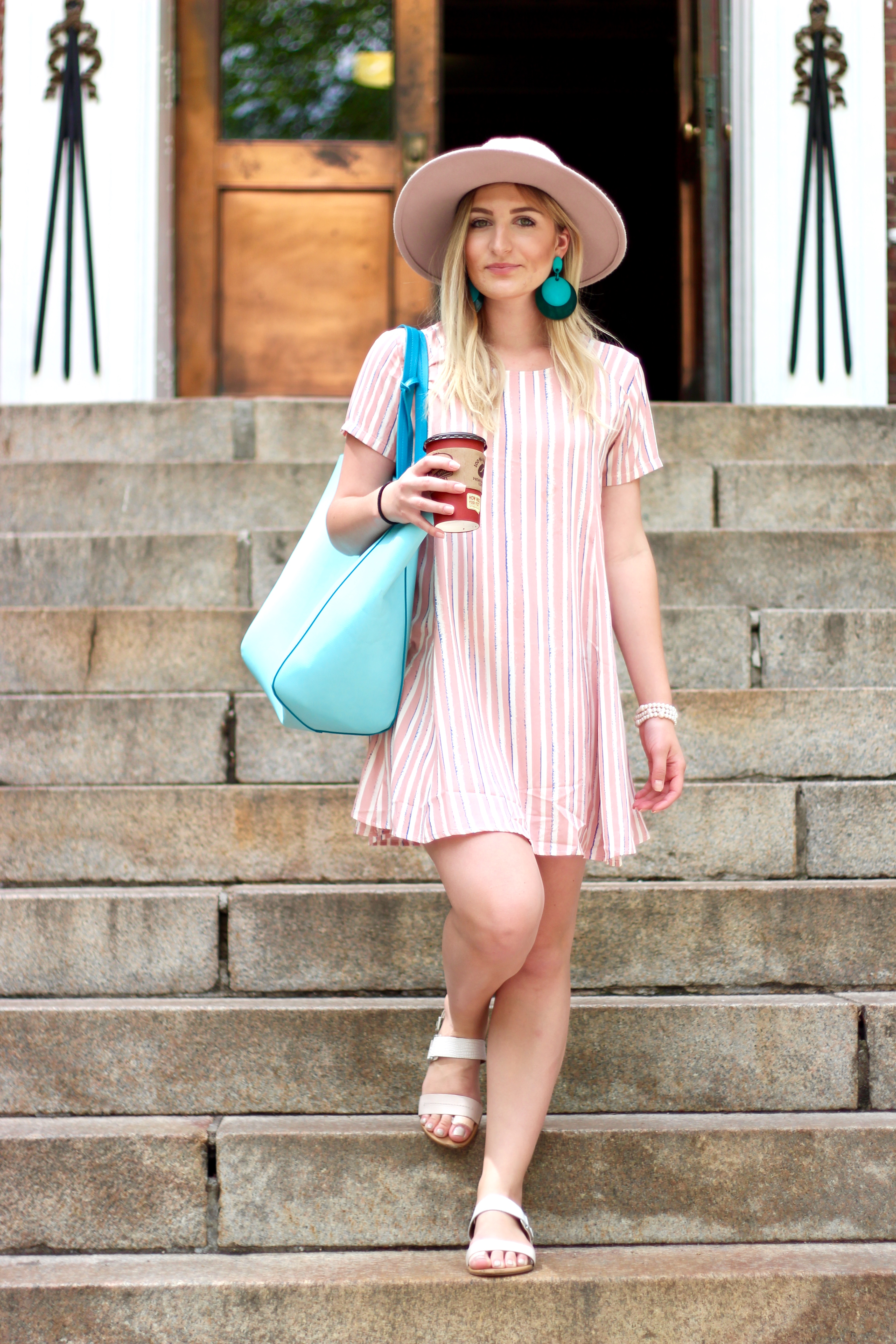 pastel shift dress in nyc | Audrey Madison Stowe Blog
