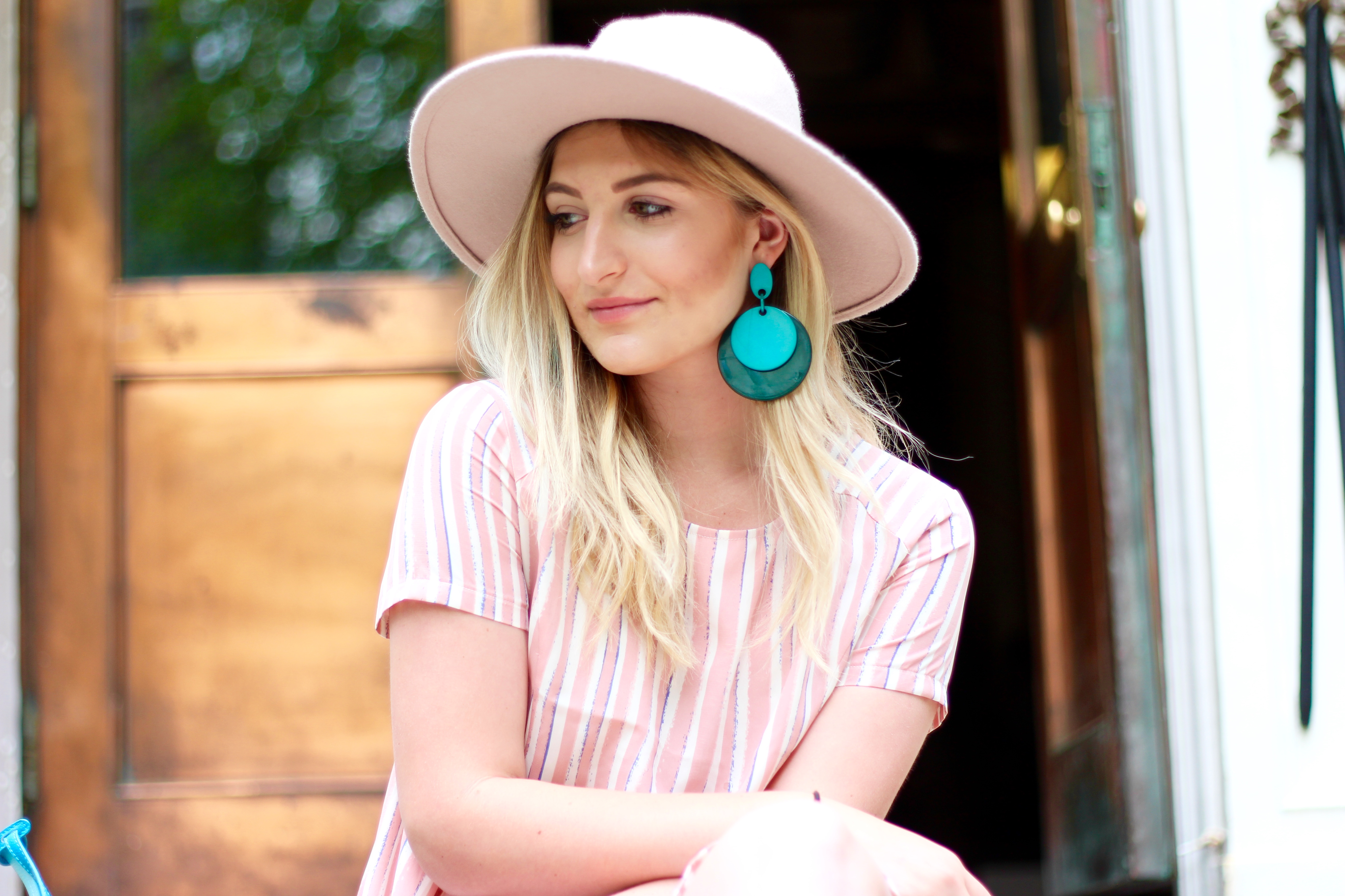 blue earrings and pink details | Audrey Madison Stowe Blog