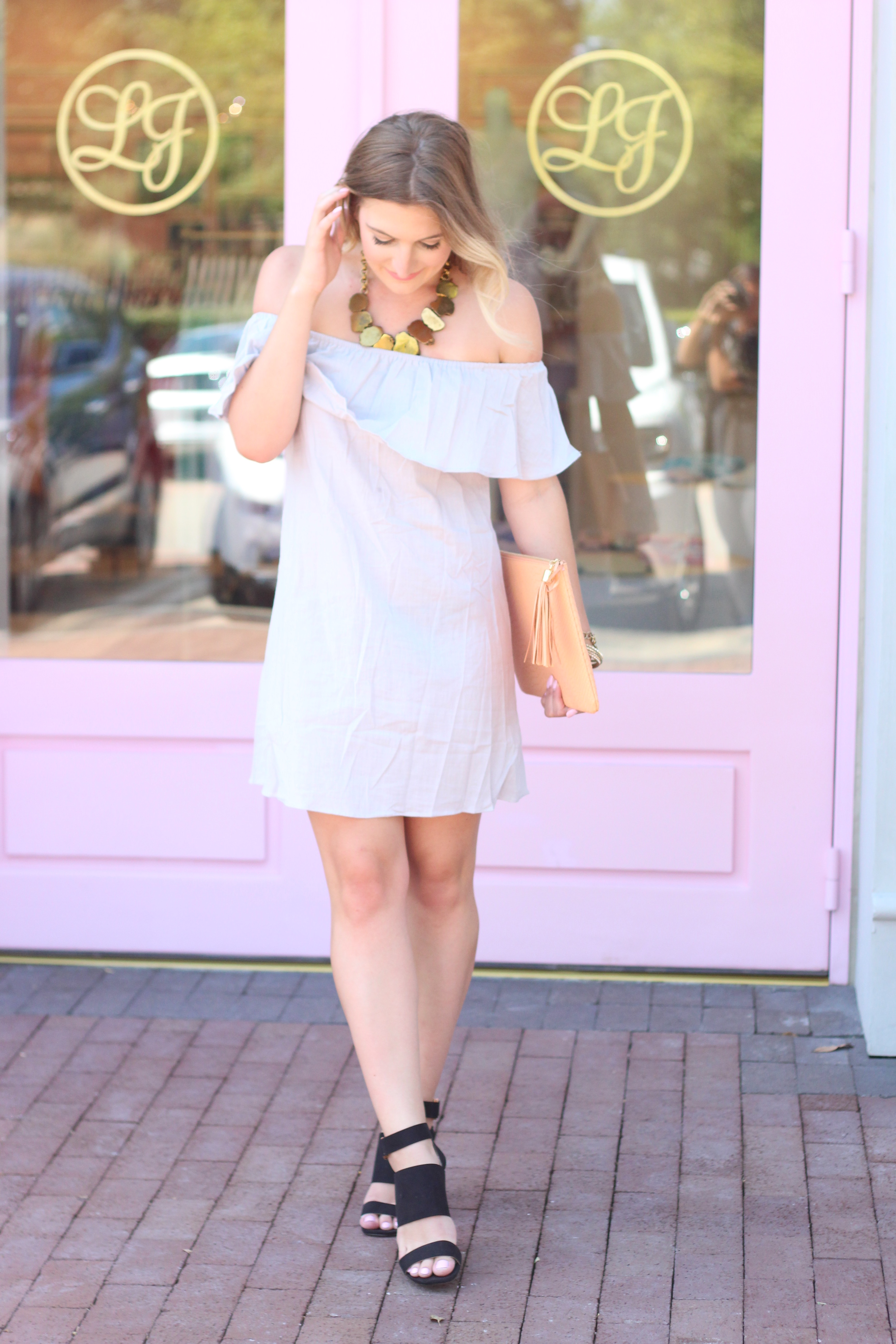 Grey OTS Dress + Bright Clutch