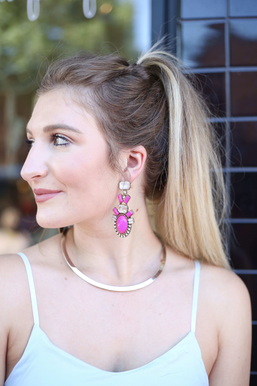 Light Blue Romper & Pink Statement Earrings   AMS Blog