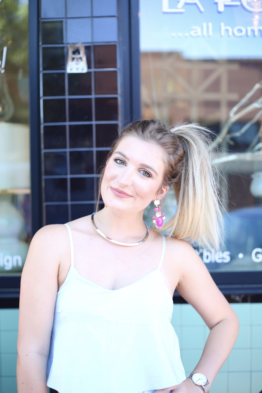 Light Blue Romper & Pink Statement Earrings | AMS Blog