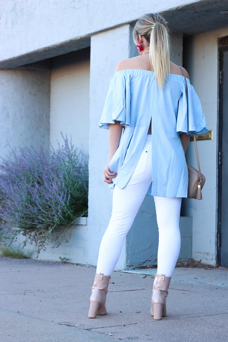 OTS Blue Top & Fall Glam Earrings   AMS Blog