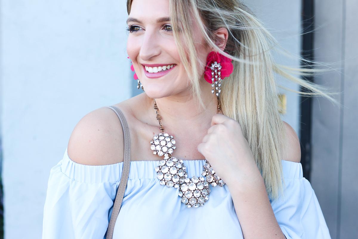 OTS Blue Top & Fall Glam Earrings | AMS Blog