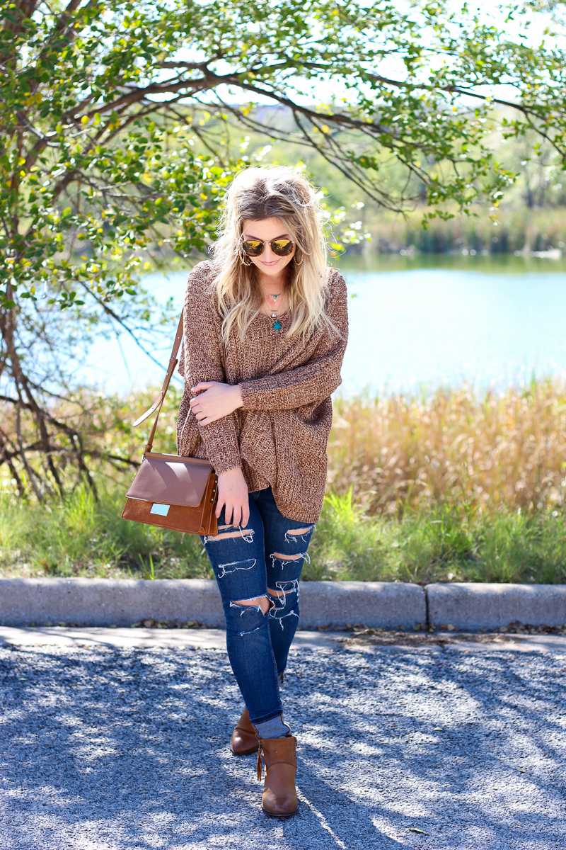 The perfect Fall Brown Chunky Sweater | AMS Blog