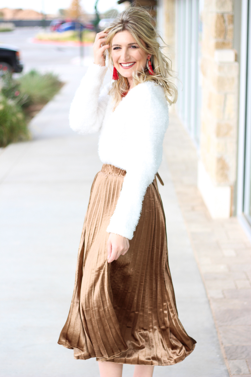 Pleated Midi + Fuzzy Sweater | AMS Blog