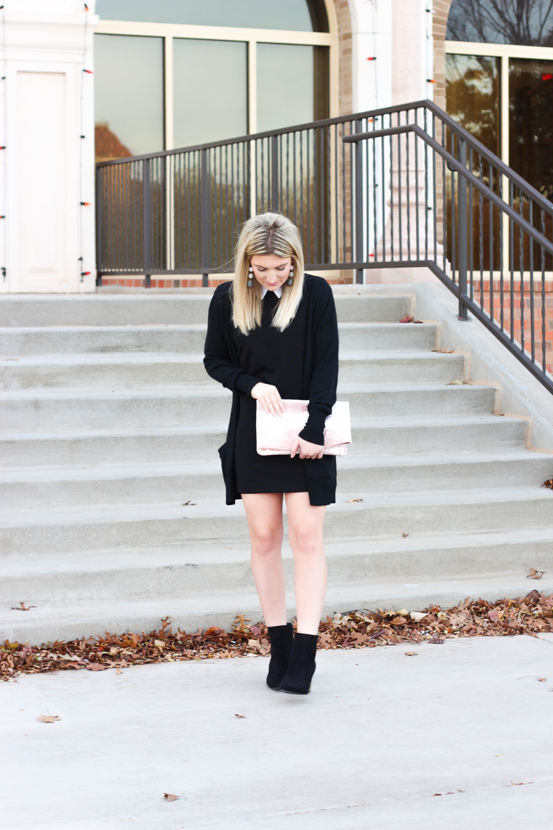 Black Winter Outfit and black booties under $50 by lifestyle blogger Audrey Stowe  | AMS Blog