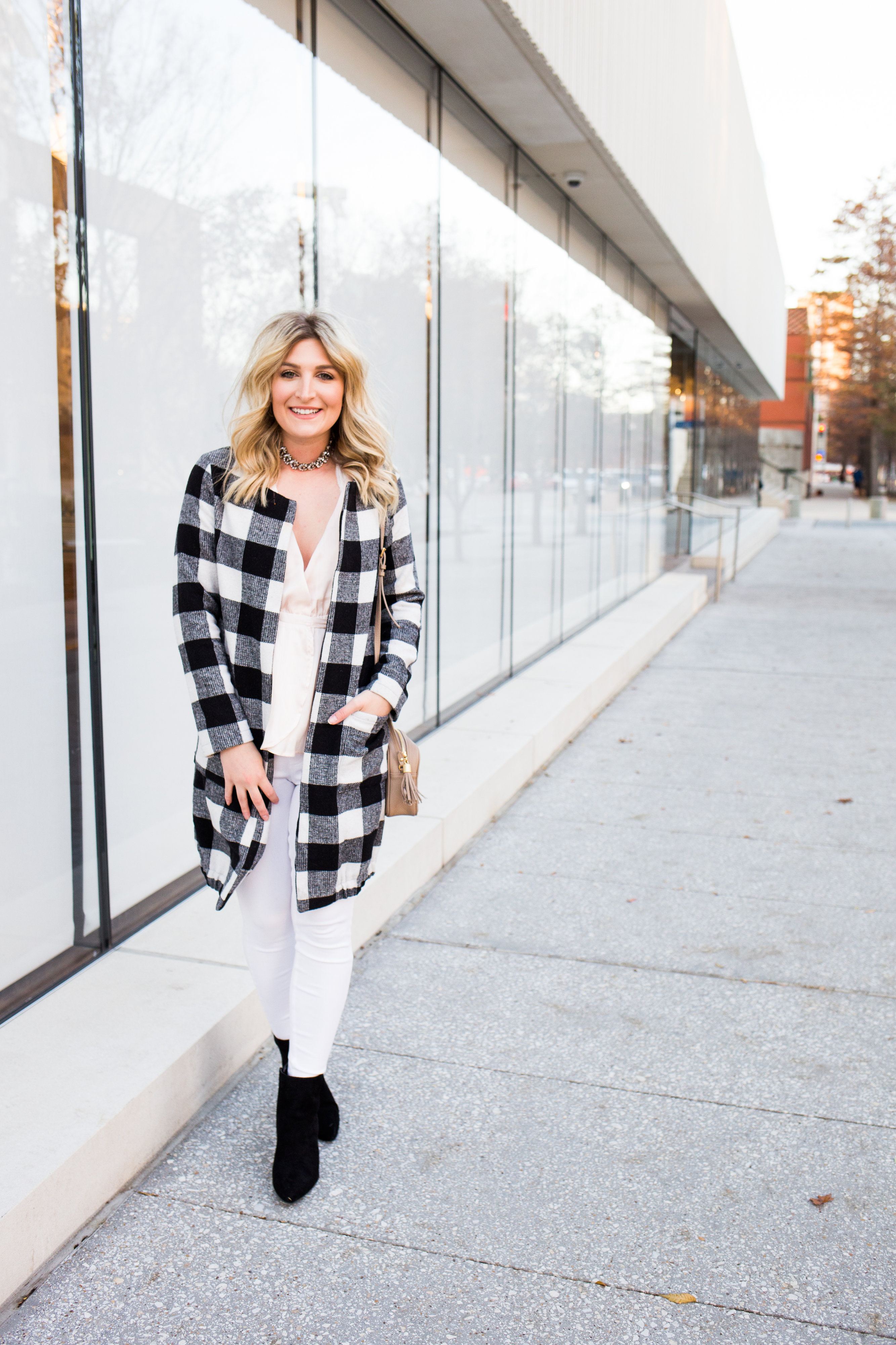 Checkered Winter Coat + Soft Winter Colors