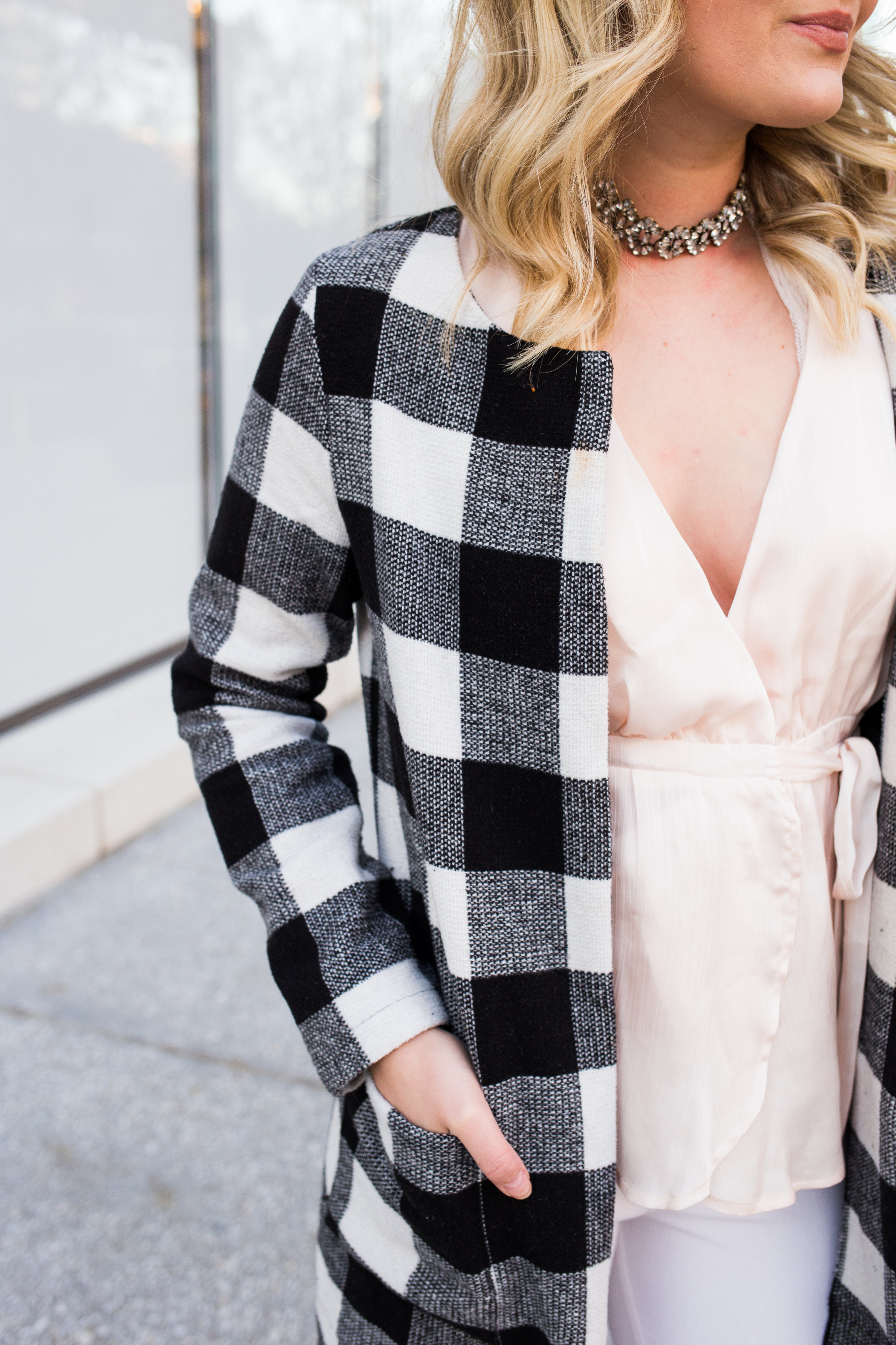 Checkered Winter Coat + Soft Winter Colors | AMS Blog