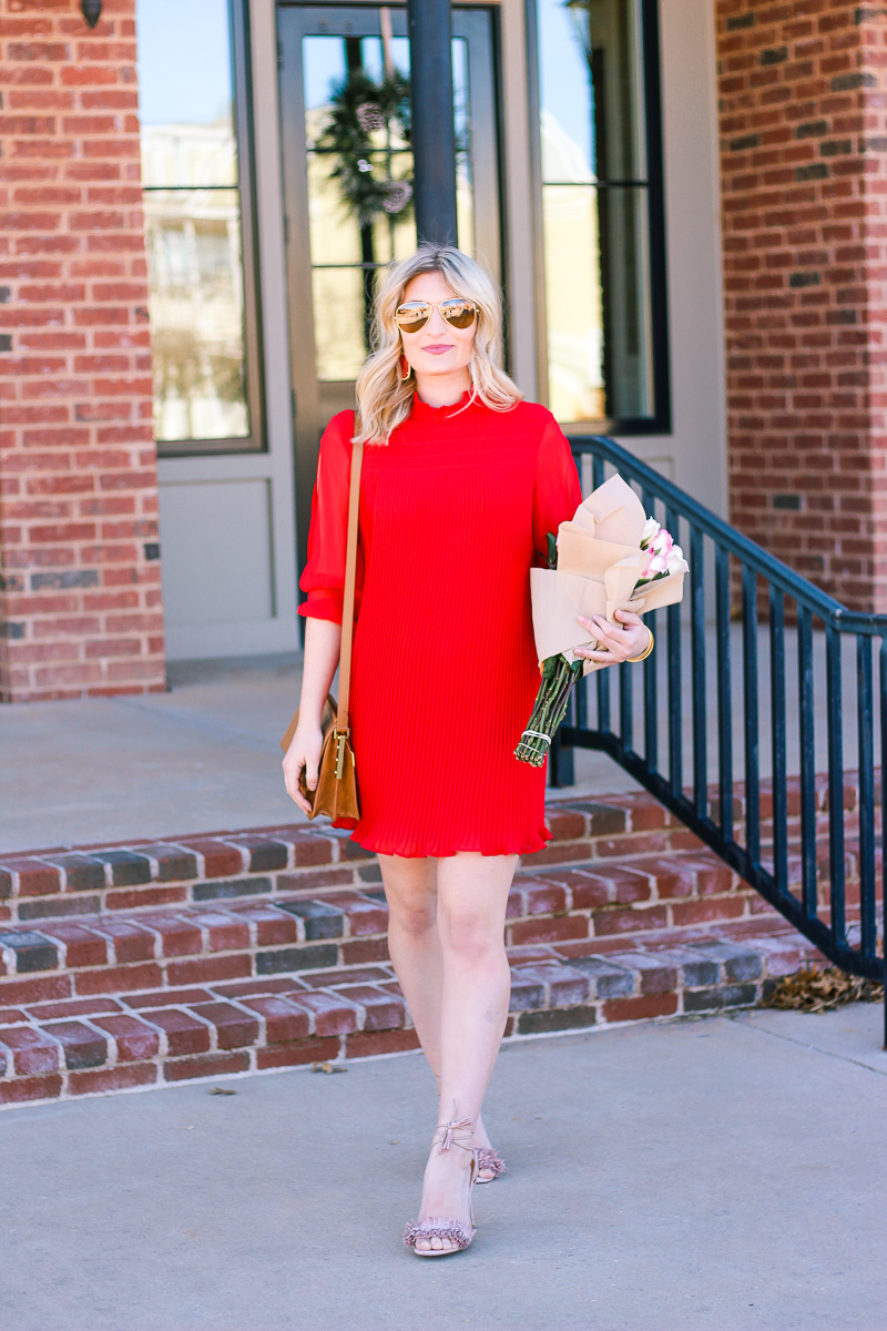 Red Pleated Dress for Valentine's by fashion and lifestyle blogger Audrey Madison Stowe