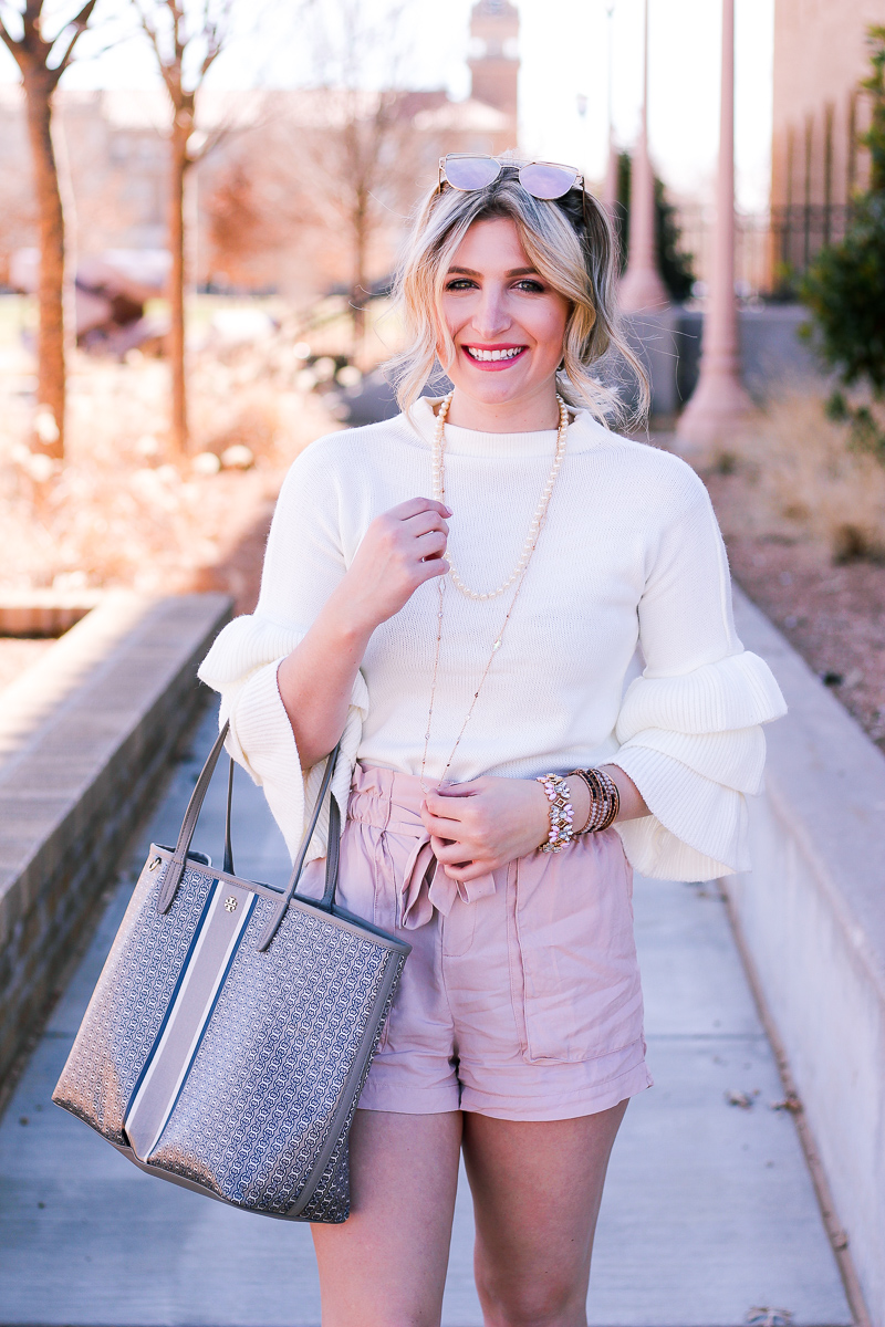 Ready For Spring and Transitioning to Shorts with a Sweater by lifestyle and fashion blogger Audrey Madison Stowe