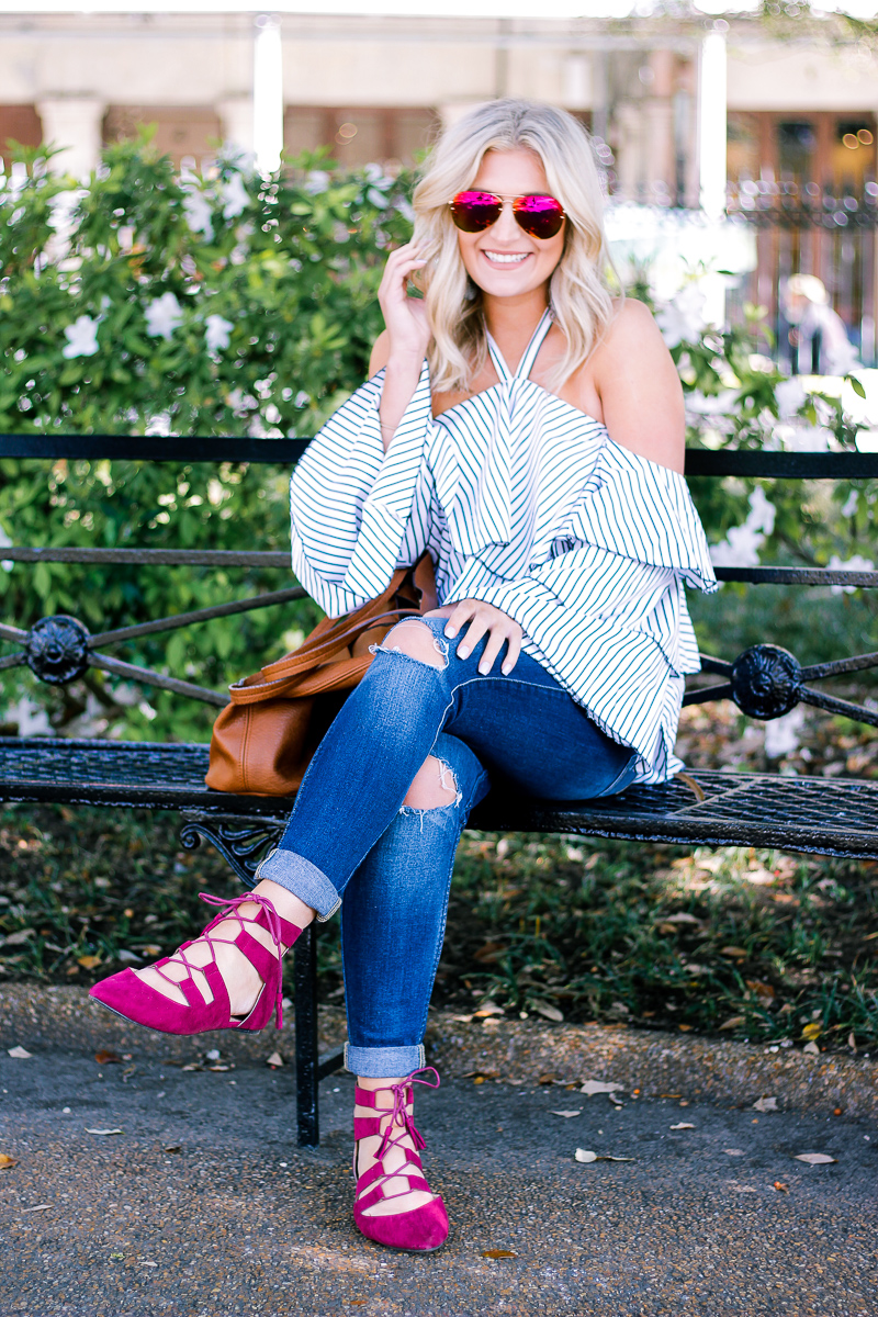 Ruffles and a Pop of Color With Restricted Shoes by Lifestyle and Fashion blogger Audrey Madison Stowe