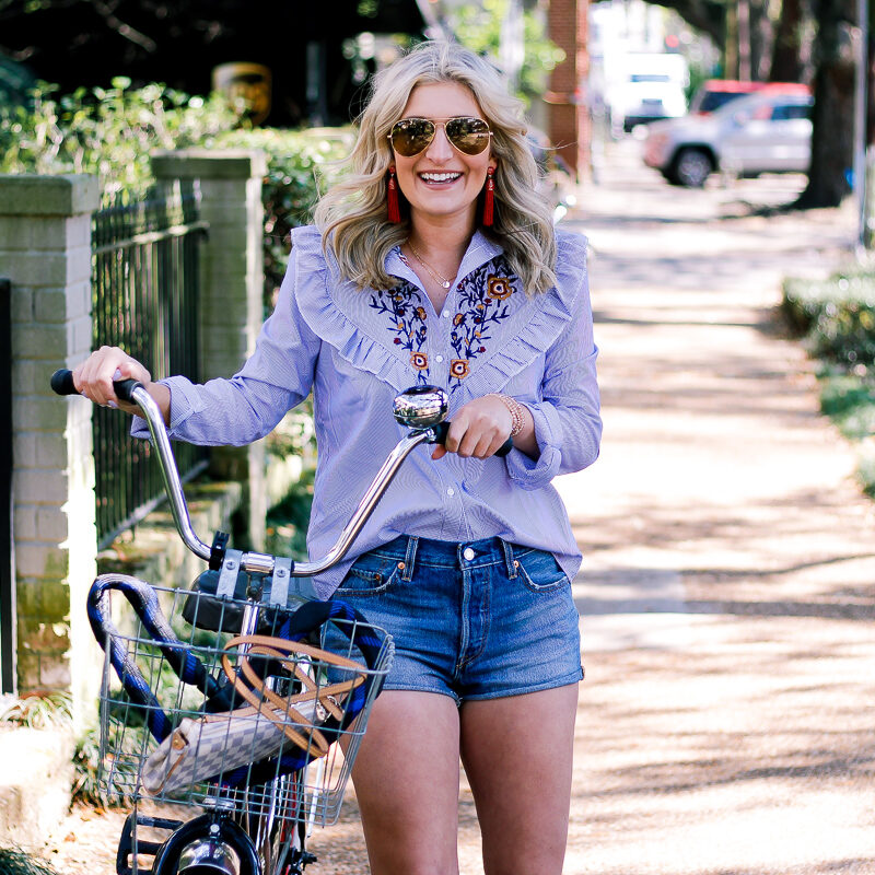 Embroidered Top: Bike Riding Through the Garden District